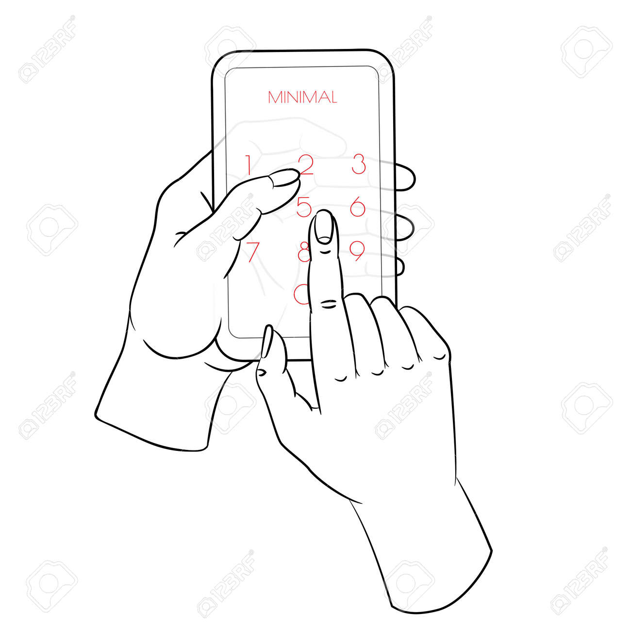 One continuous single drawn line art doodle mobile, phone, technology, gadget, communication, device, telephone, display, electronic, hand, smartphone, palm - 141063718