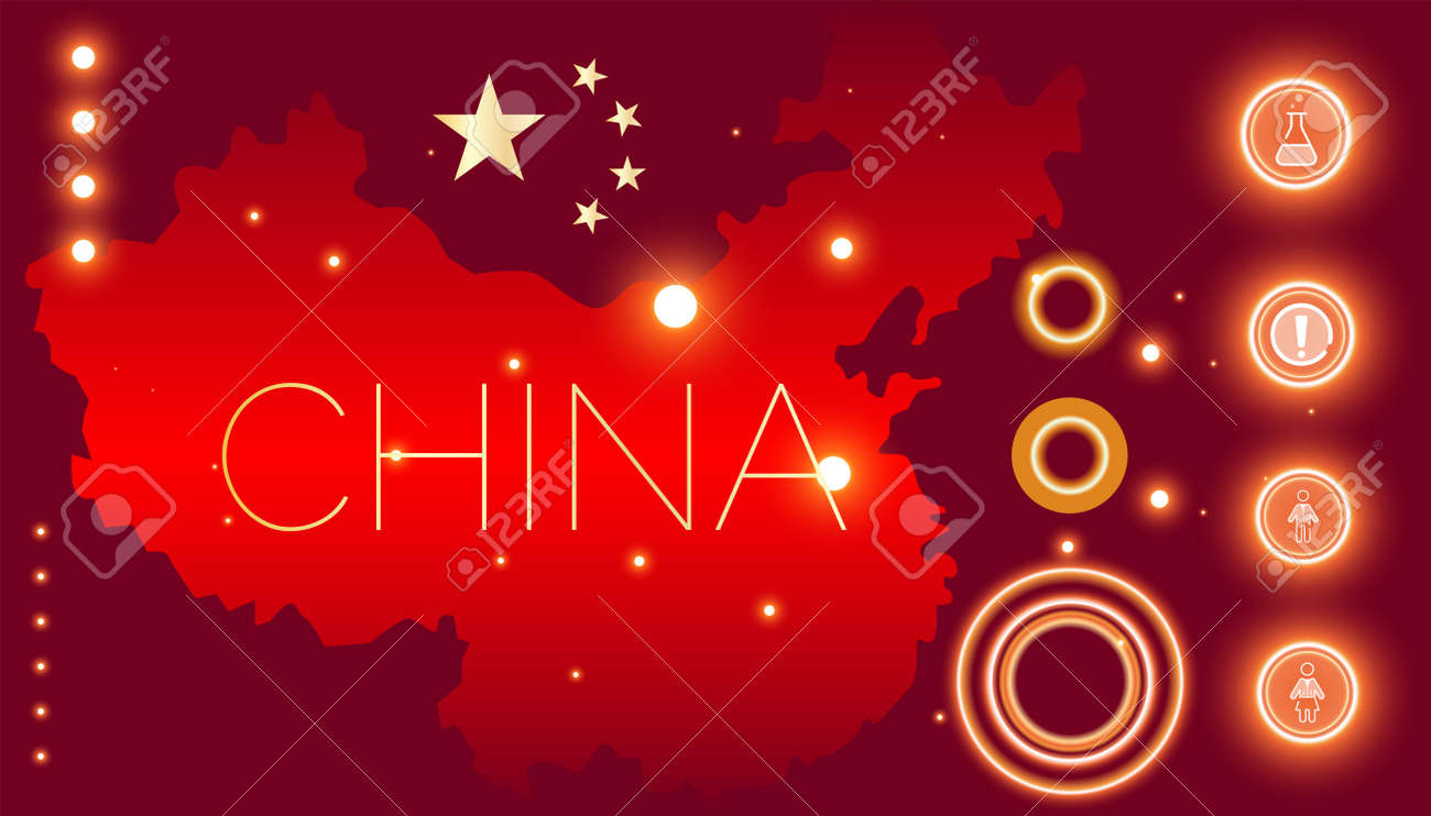 Infographic map of China, flag. Icons of man and woman, exclamation mark of danger and sign of medicine and medicine. Stock Vector Graphics - 141063724