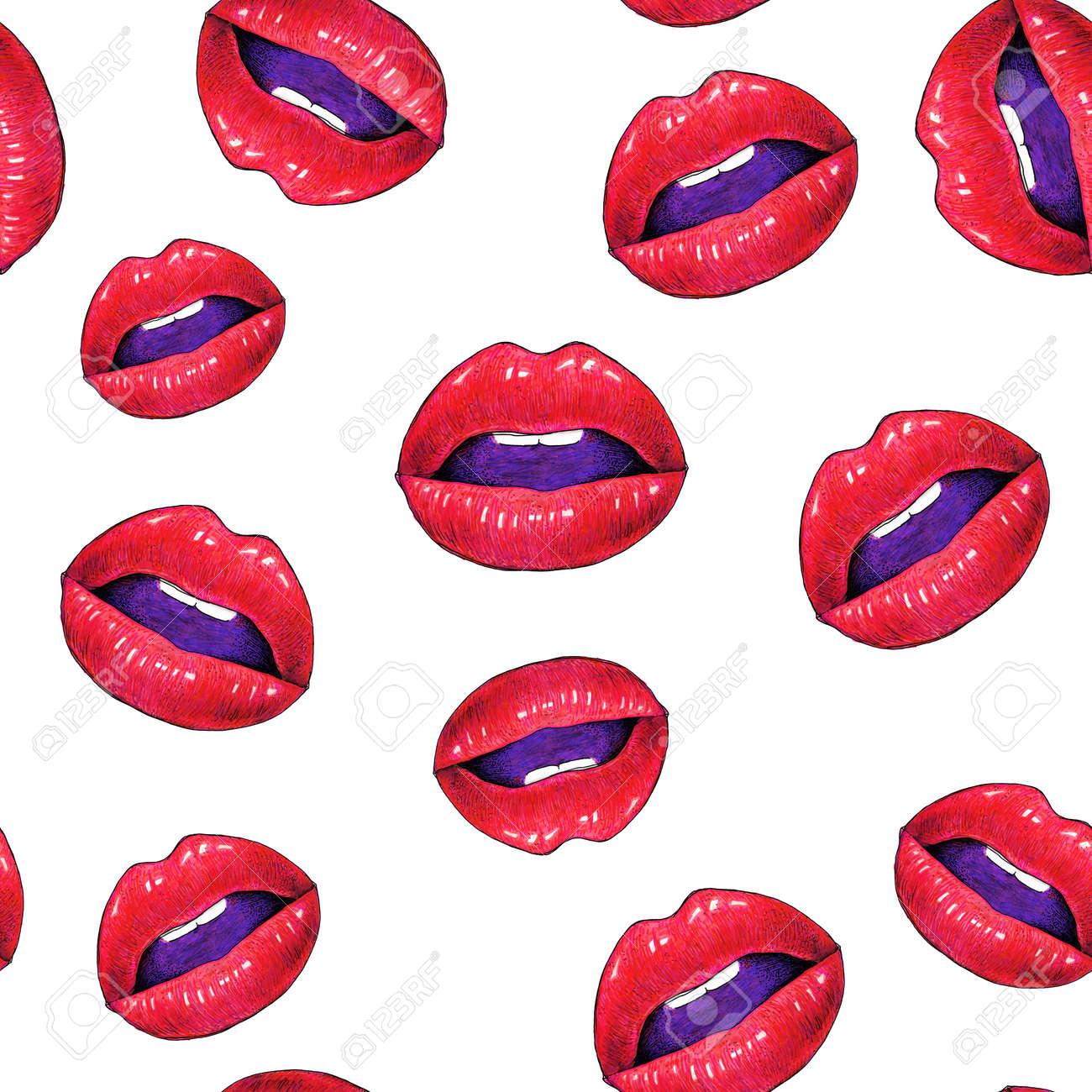 schne sexy lippen mit weien zhnen auf einem weien hintergrund weibliche rote lippen zeichnen - Schone Muster Zum Zeichnen