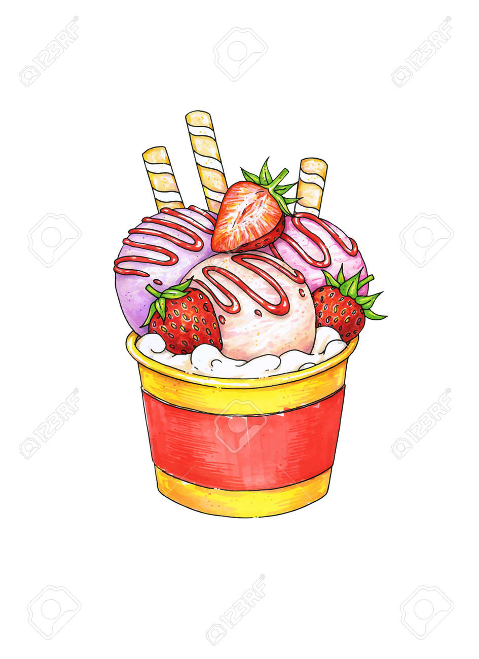 Sundae Ice Cream With Taste Of Strawberry In Cup On White Background Handwork Sketch