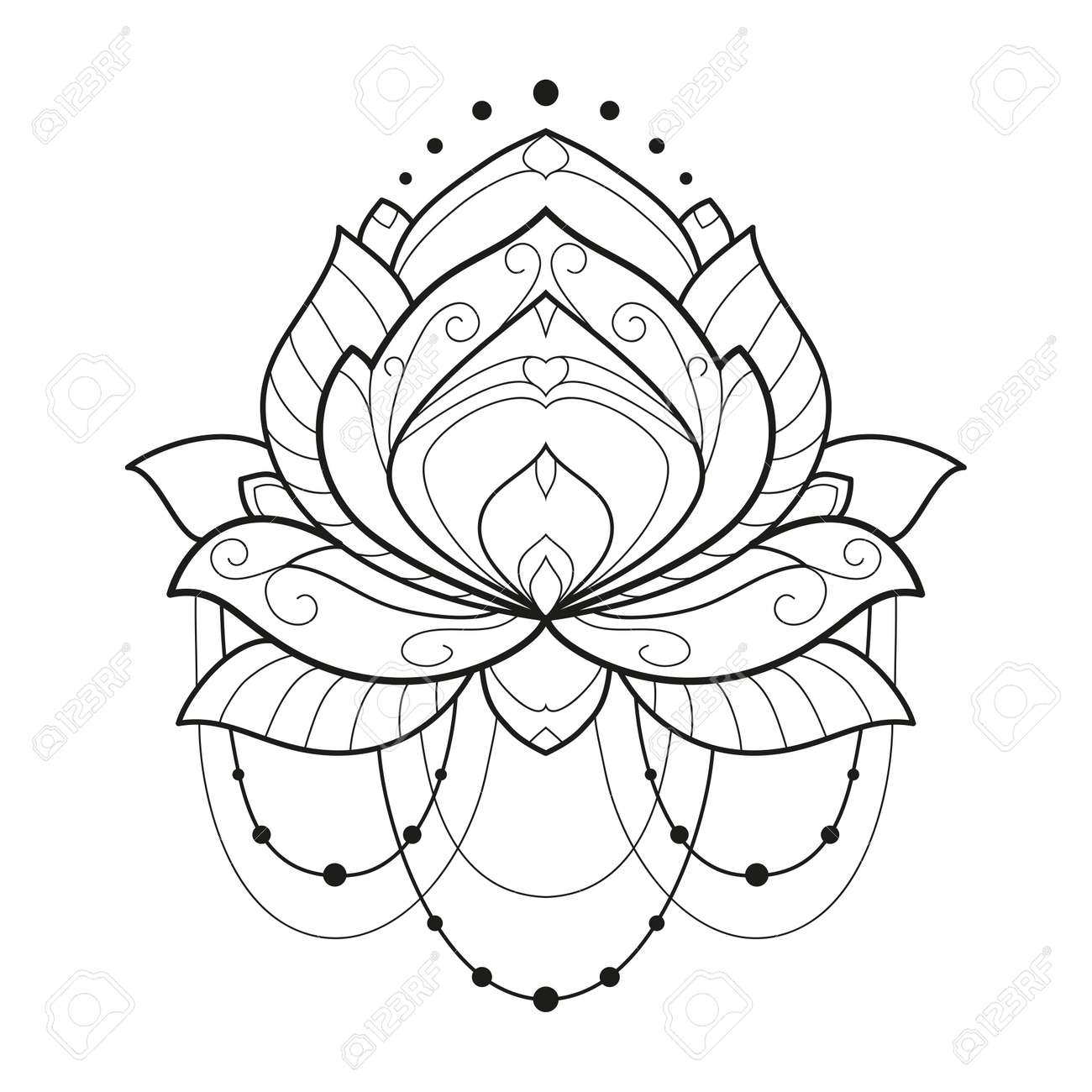 Lotus Flower Monochrome Geometrical Vector Illustration Is Isolated