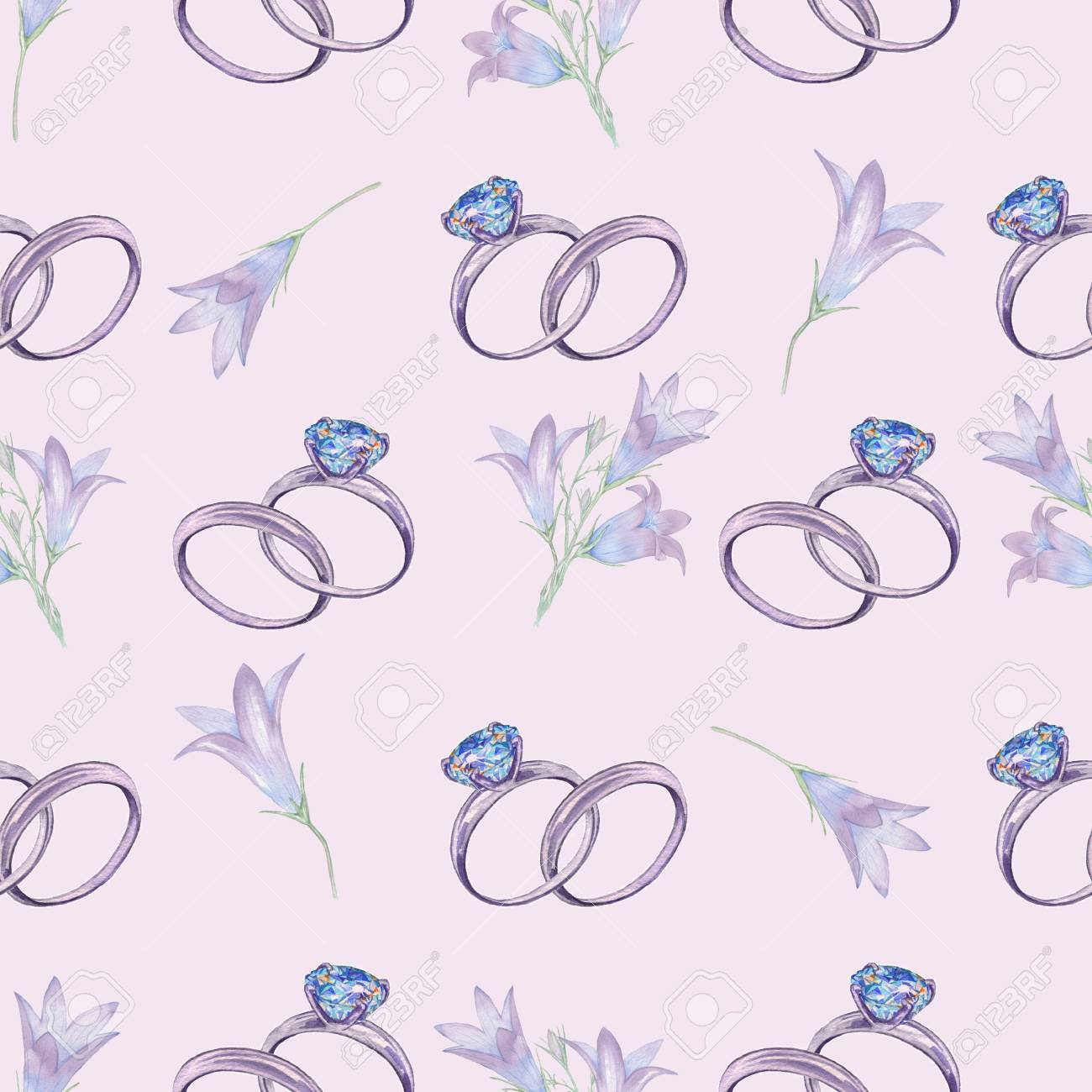 Engagement Ring 2. Seamless Pattern. Watercolor Illustration ...