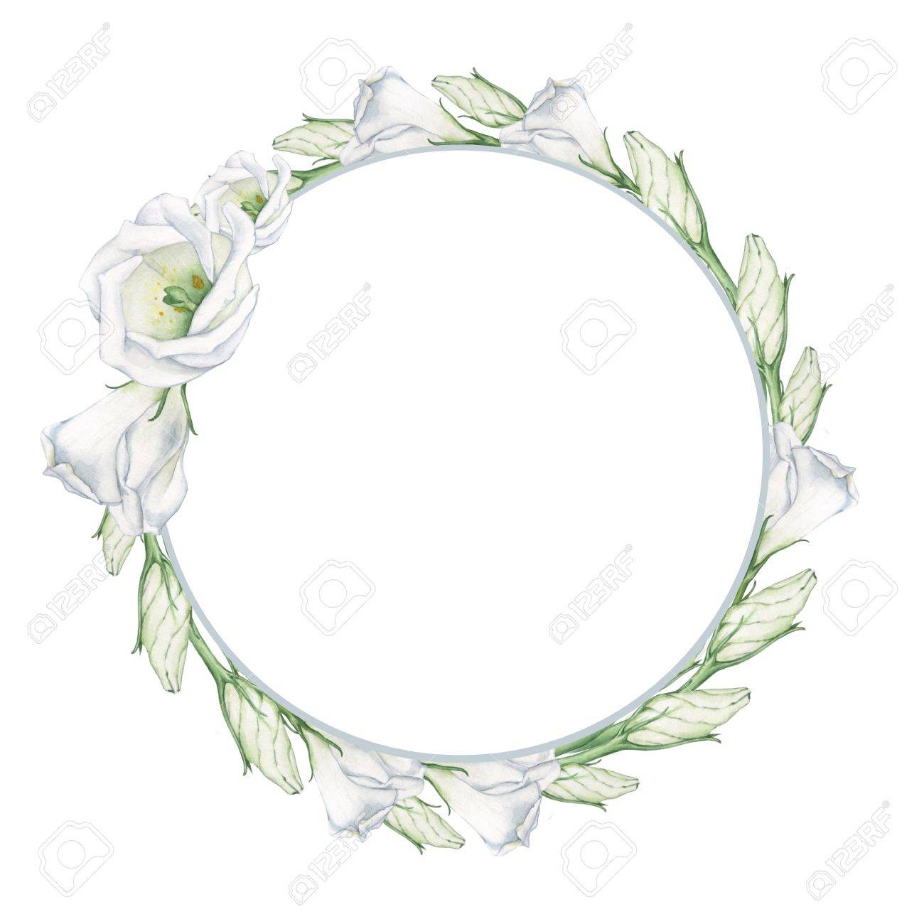 White Flowers 4. A Wreath For Decoration Of Wedding Cards ...