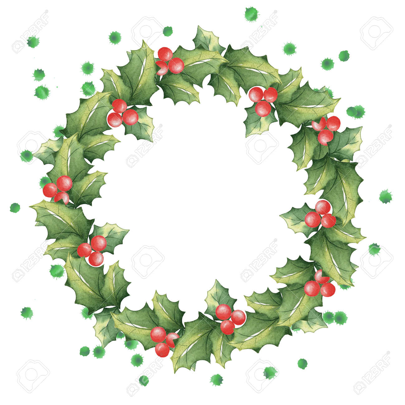 Christmas Wreath Drawing.Christmas Wreath Of Mistletoe With Watercolor Splashes Festive