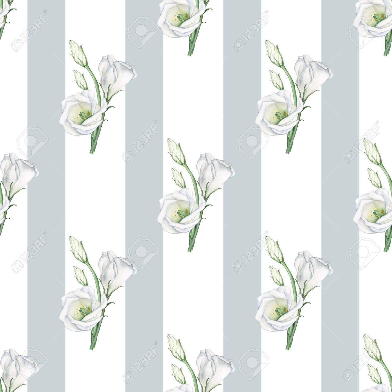 Flores Blancas En Un Patrón De Tablero De Ajedrez. Fondo De Acuarela ...