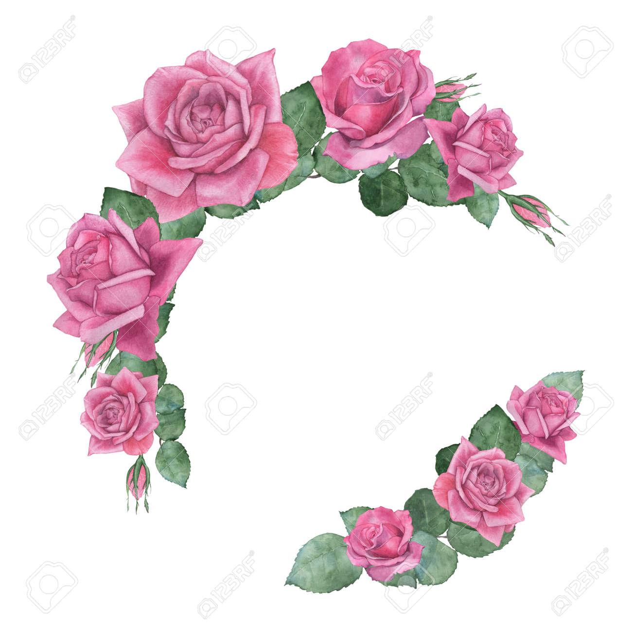 foto de archivo marco de rosas pintura de acuarela dibujo a mano plantilla para el diseo de invitaciones de boda invitaciones carteles