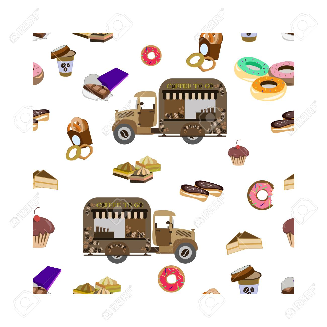 Concept on street food, coffee to go. Seamless pattern with car and sweets, vector - 101054525