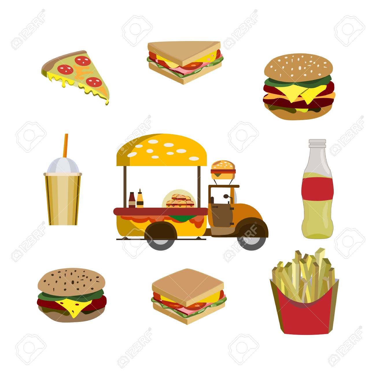 Concept on street food. Seamless pattern with fastfood, vector - 101149789