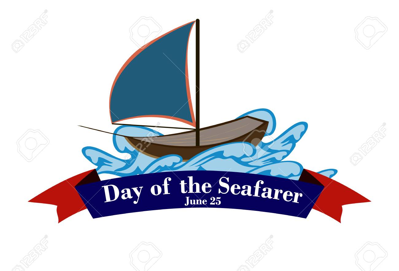 Element of design for the Day of the seafarer. A ship on the waves. Vector illustration. - 102394919