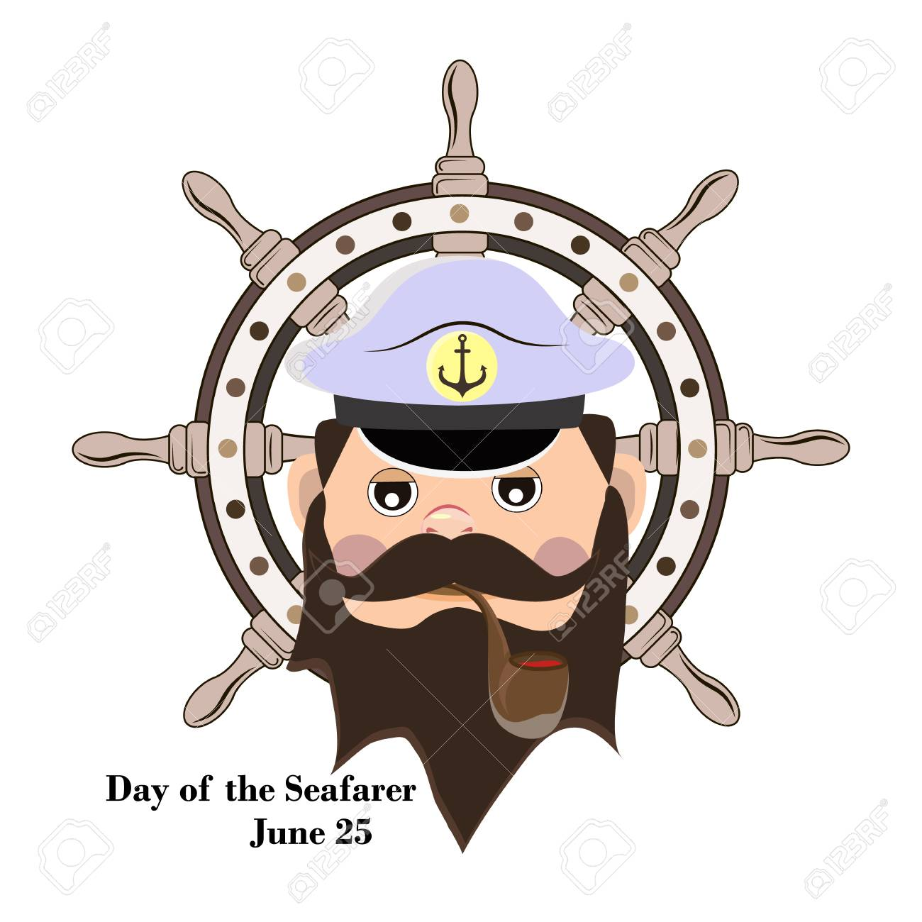 Element of design for the Day of the seafarer, the captain of the ship smokes a pipe. Vector illustration. - 102394921