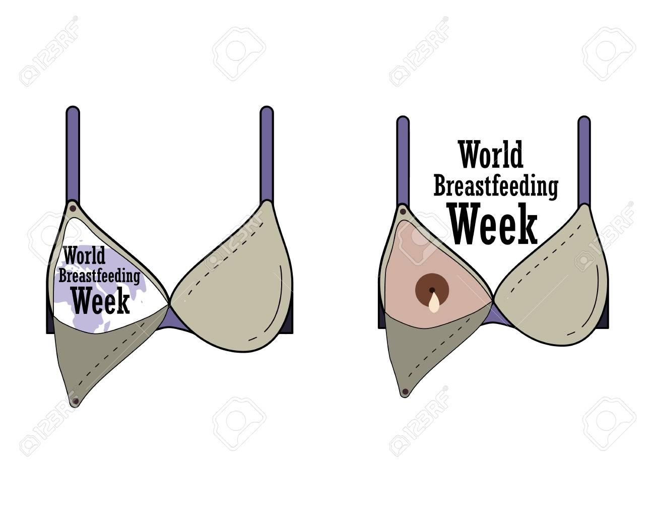 World Breastfeeding Week, breast-feeding bra. Vector - 102394923