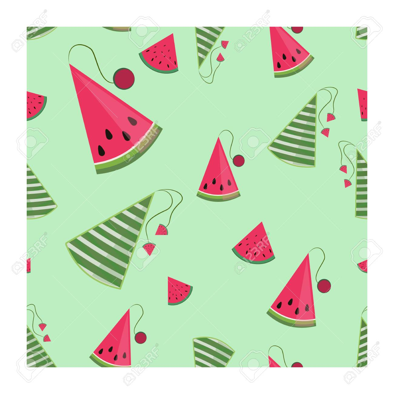 Concept for the National Watermelon Day, seamless gift wrapping pattern, vector - 102394926