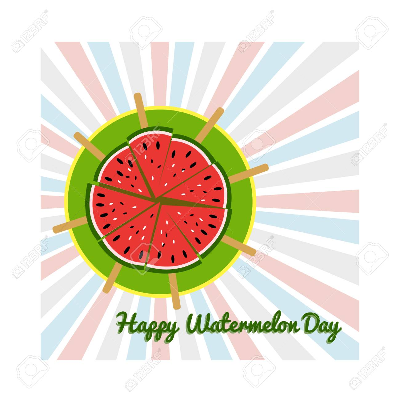 Concept for the National Watermelon Day, greeting card with watermelon sliced slices on a plate - 102394924