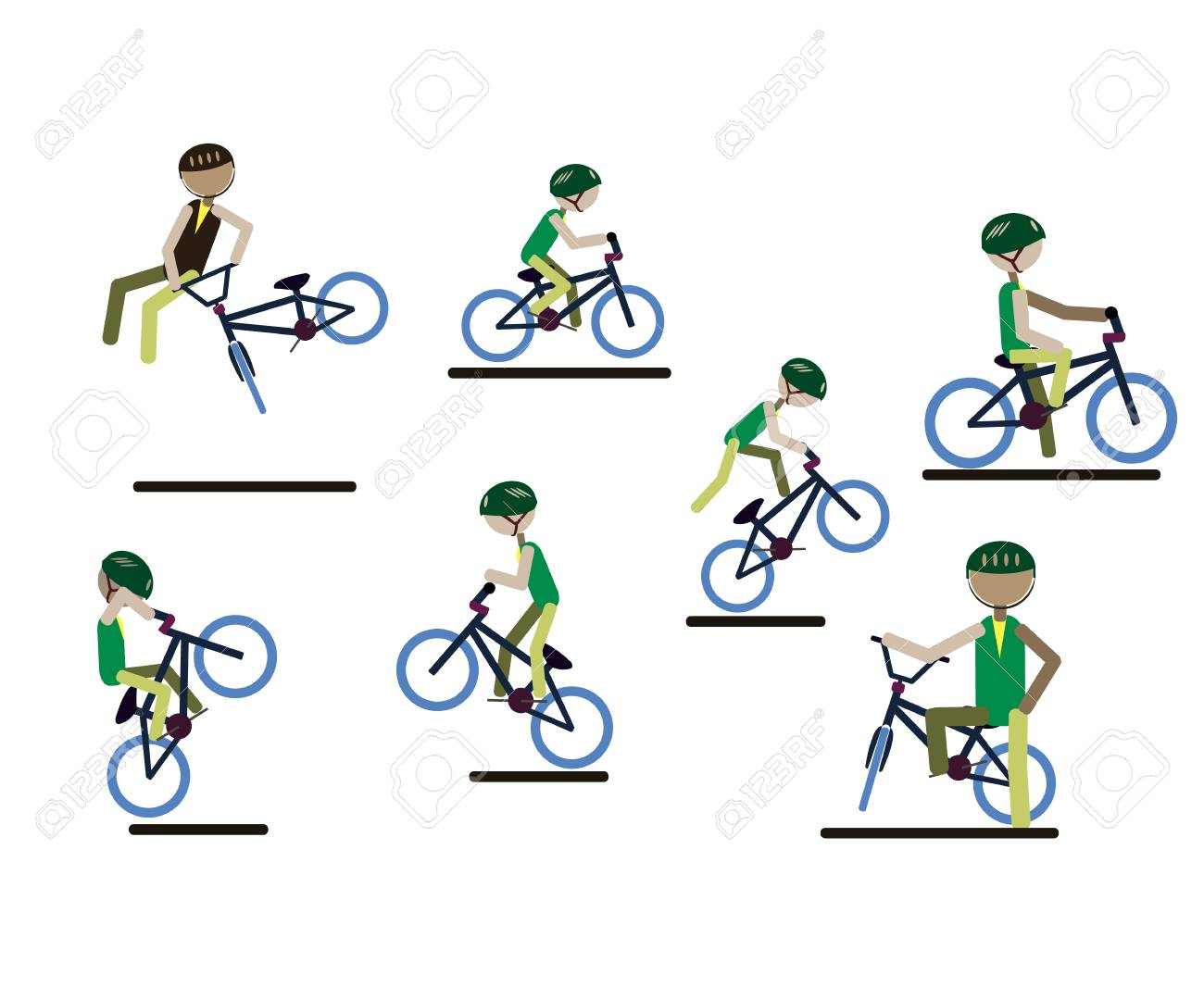 A set of characters engaged in active sport. Vector. - 102678746