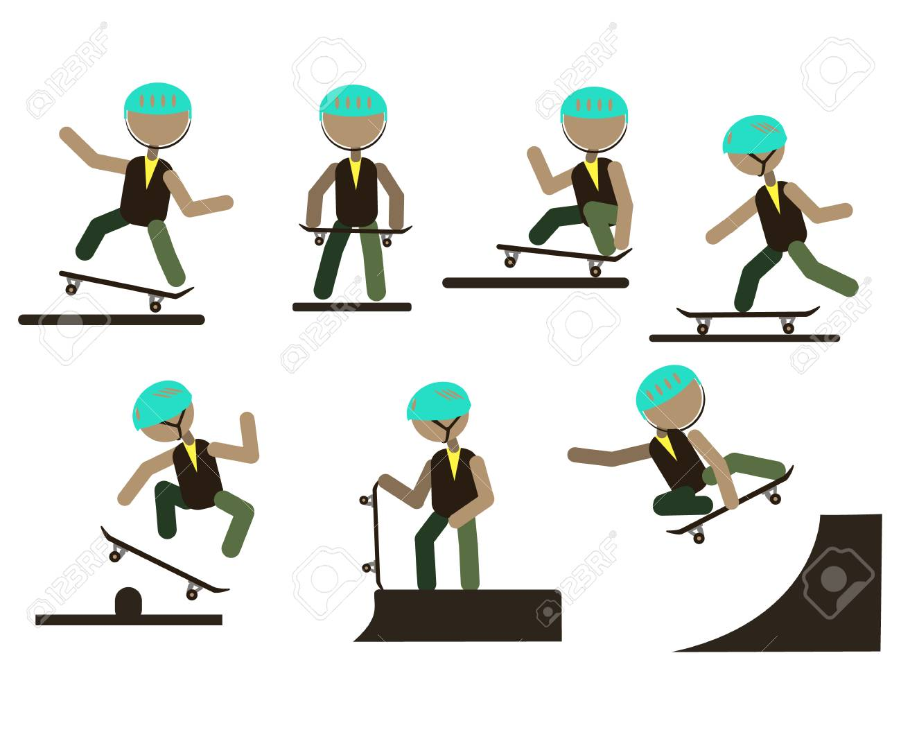 A set of characters engaged in active sport. Vector. - 103700306