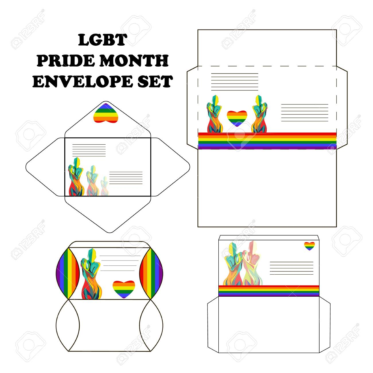 Set of postal envelopes for the Pride month, with silhouettes of girls, vector - 103435705