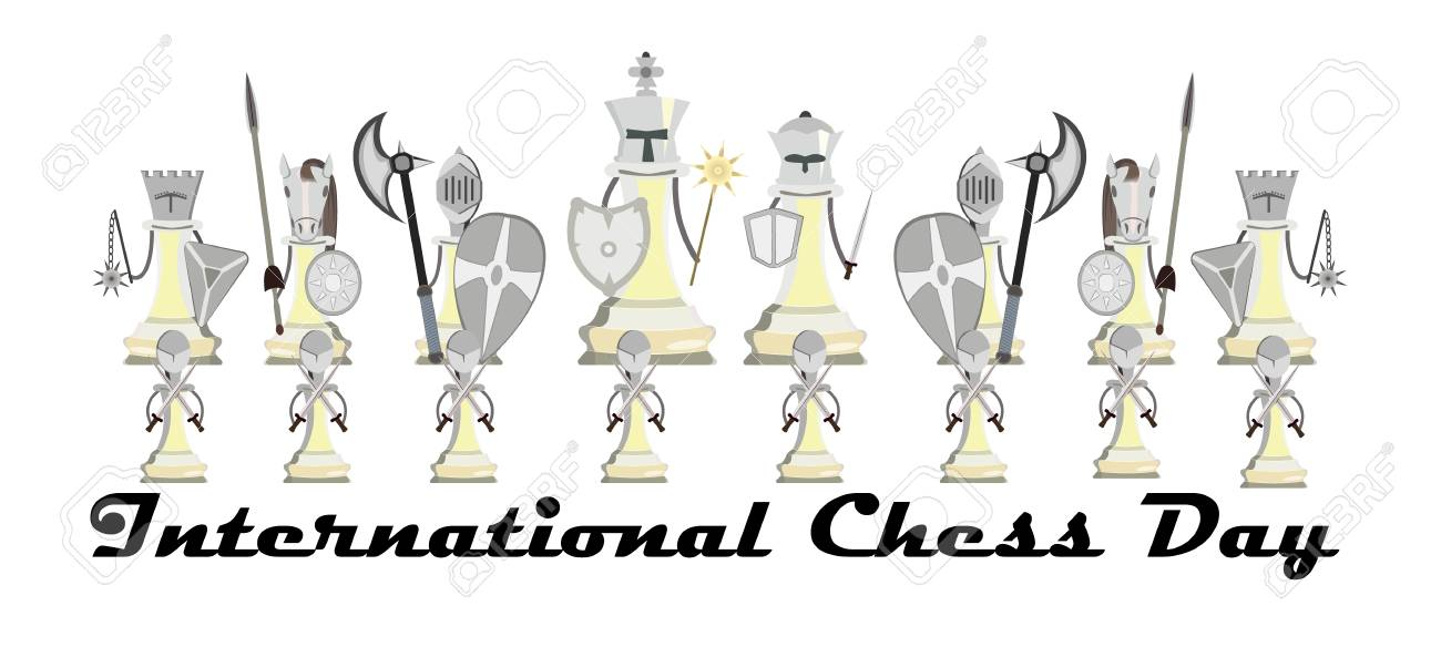 International Chess Day, vector illustration with stylized knight chess - 103828143