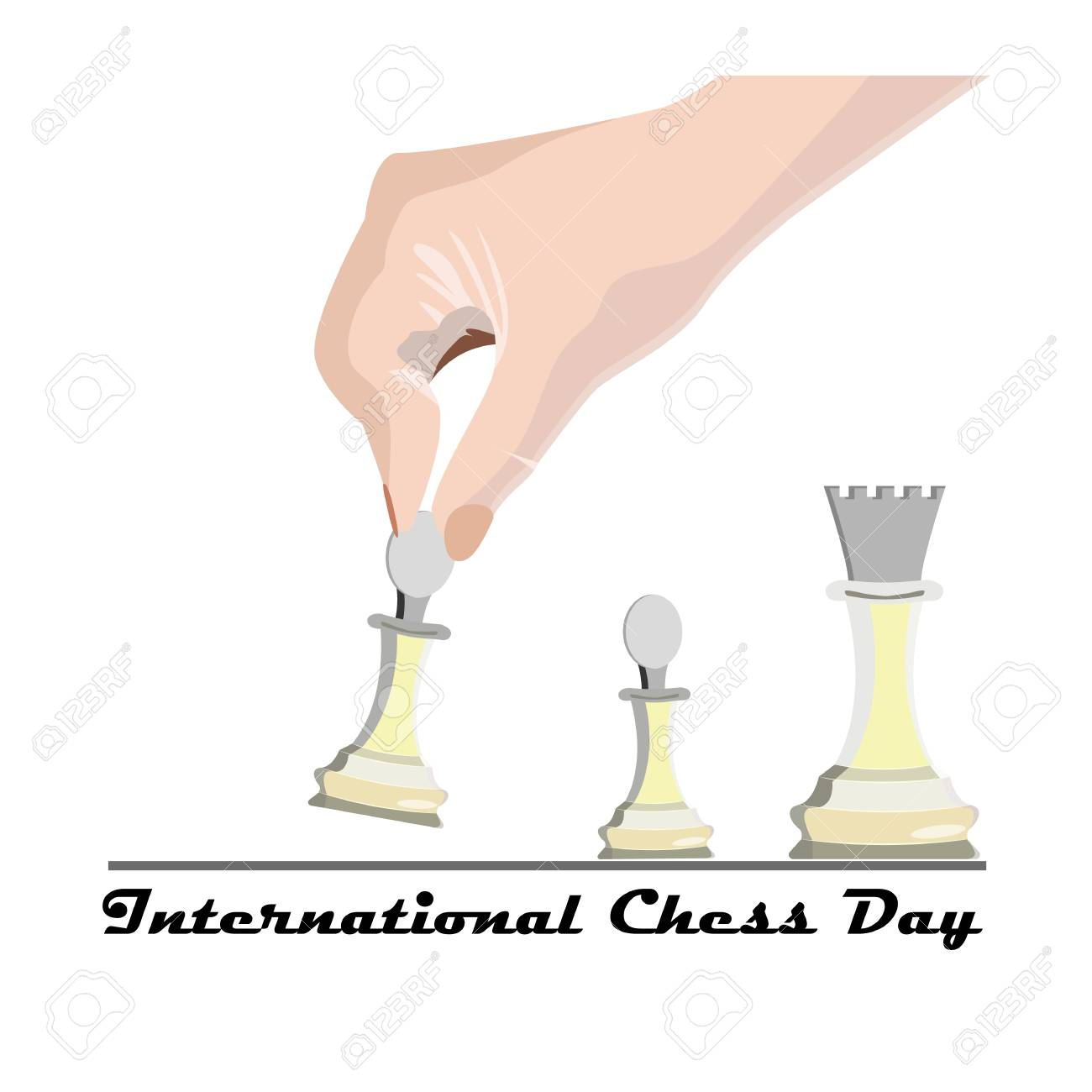 International Chess Day, vector illustration with a hand of a player's hand, making the first move in a chess game - 103828145