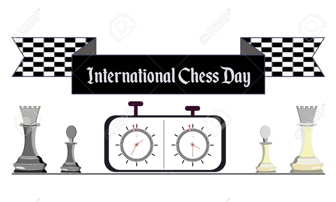International Chess Day, vector illustration with white and black chess and chess clock - 103828144