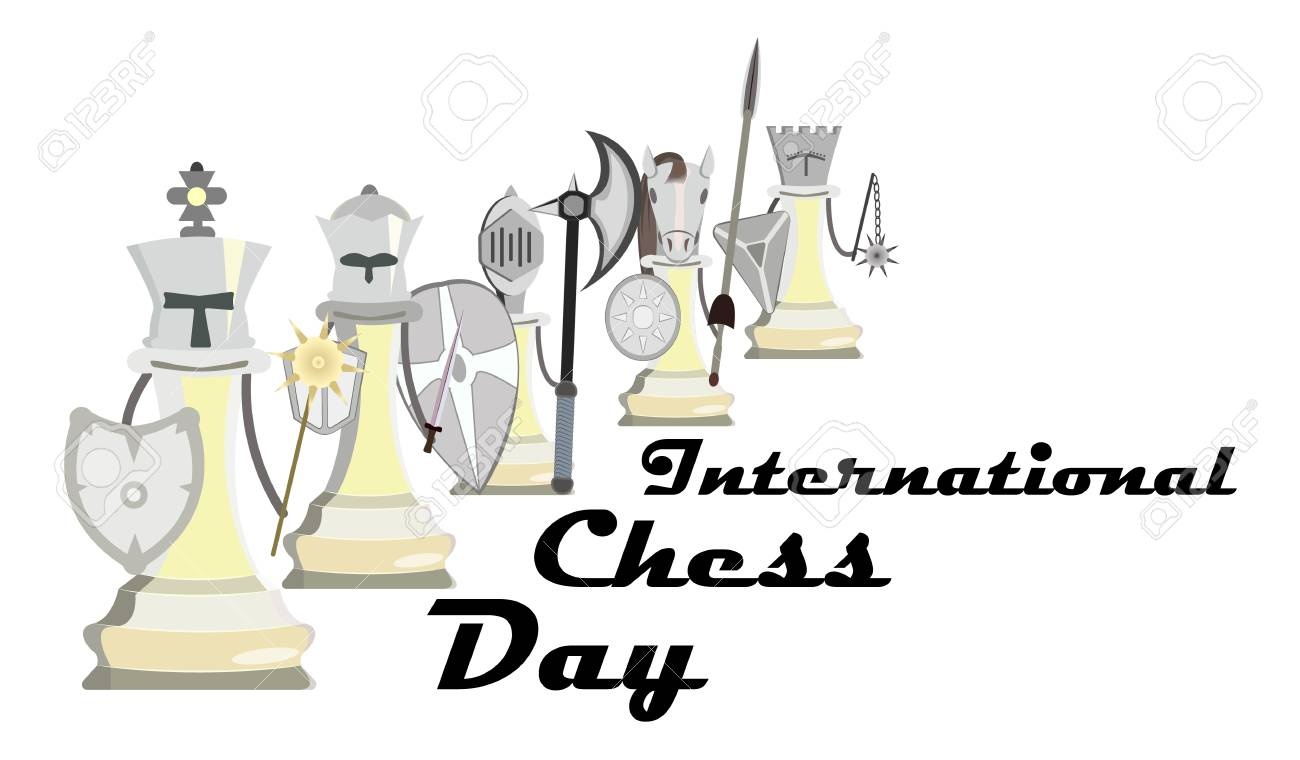 International Chess Day, vector illustration with stylized knight chess - 103828147