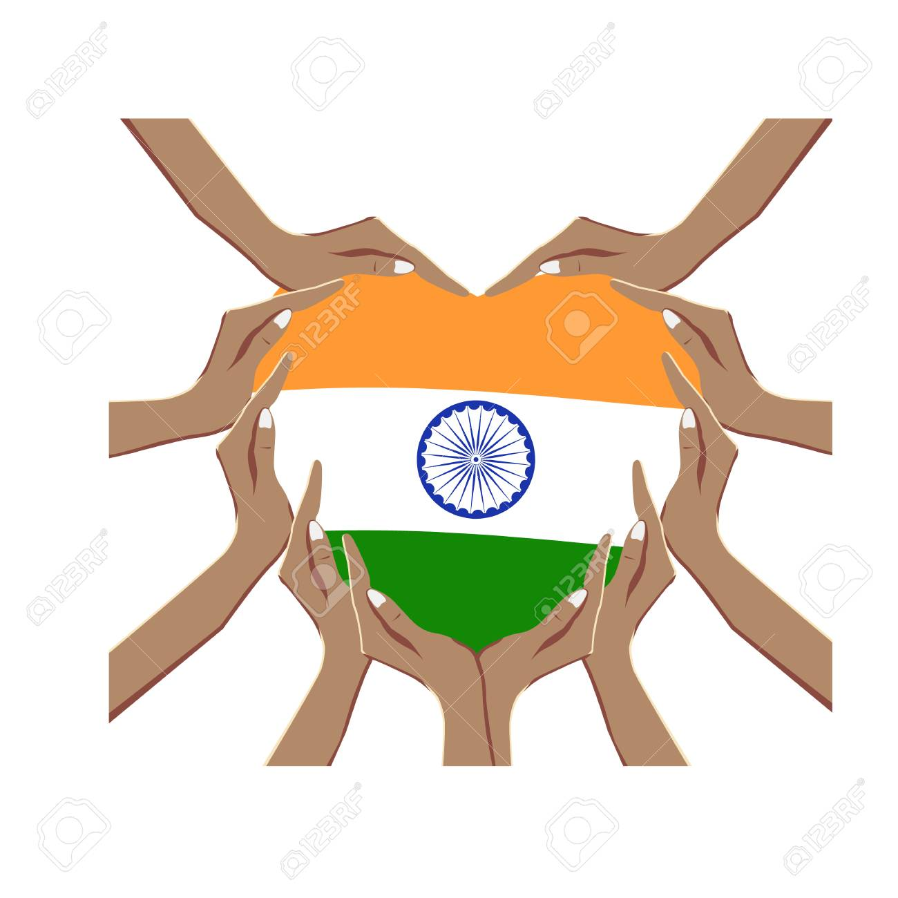 Independence Day of India, vector illustration with hands in the shape of the heart, inside the national flag - 103827994