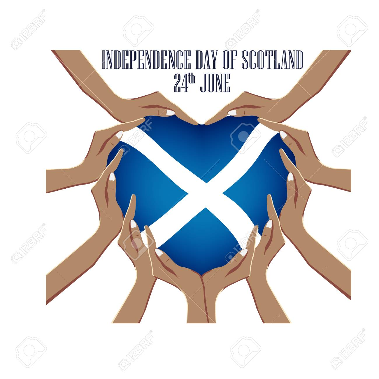 Independence Day of Scotland, vector illustration with hands in the shape of the heart, inside the national flag - 103984157