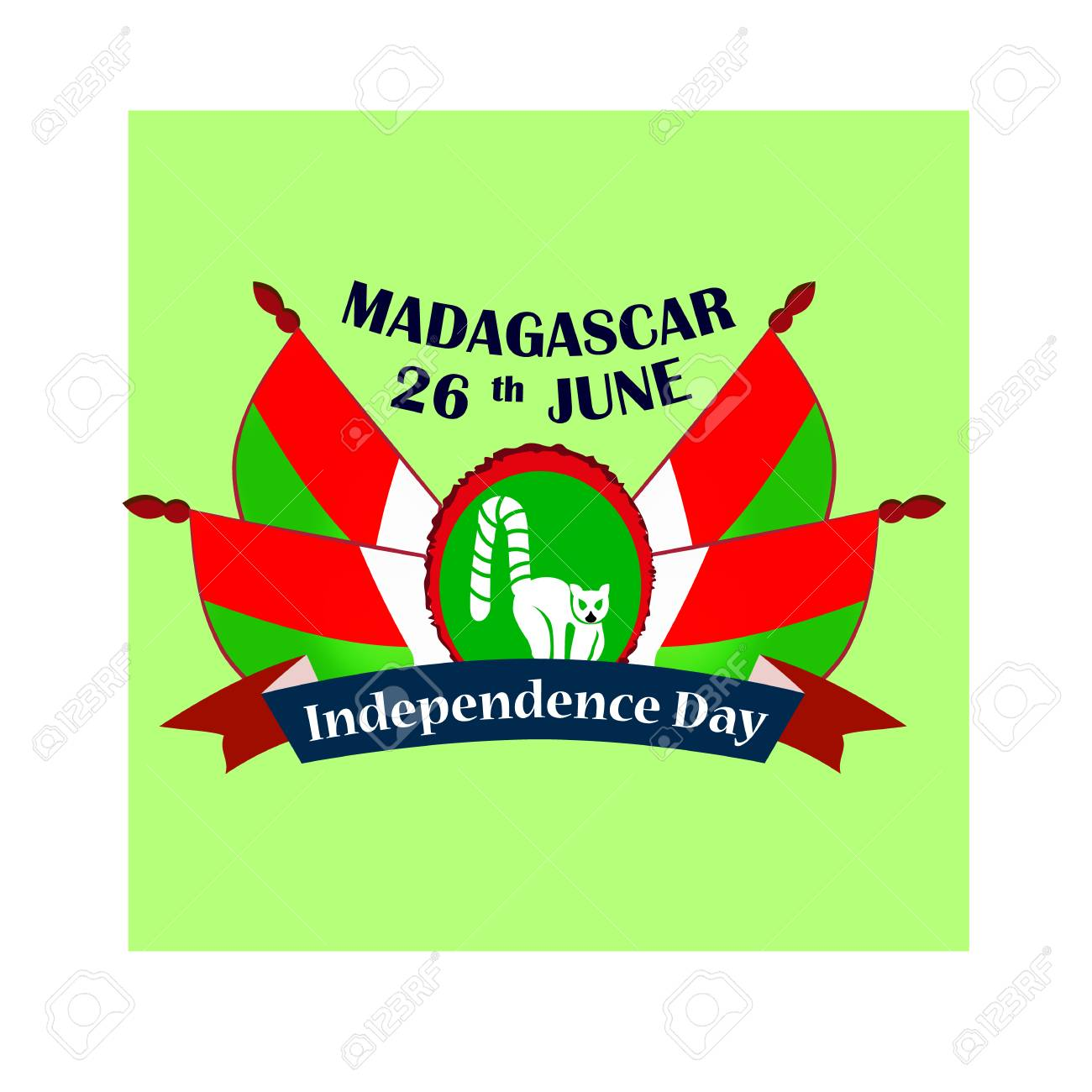 Independence Day of Madagascar, illustration with national flags - 103984246