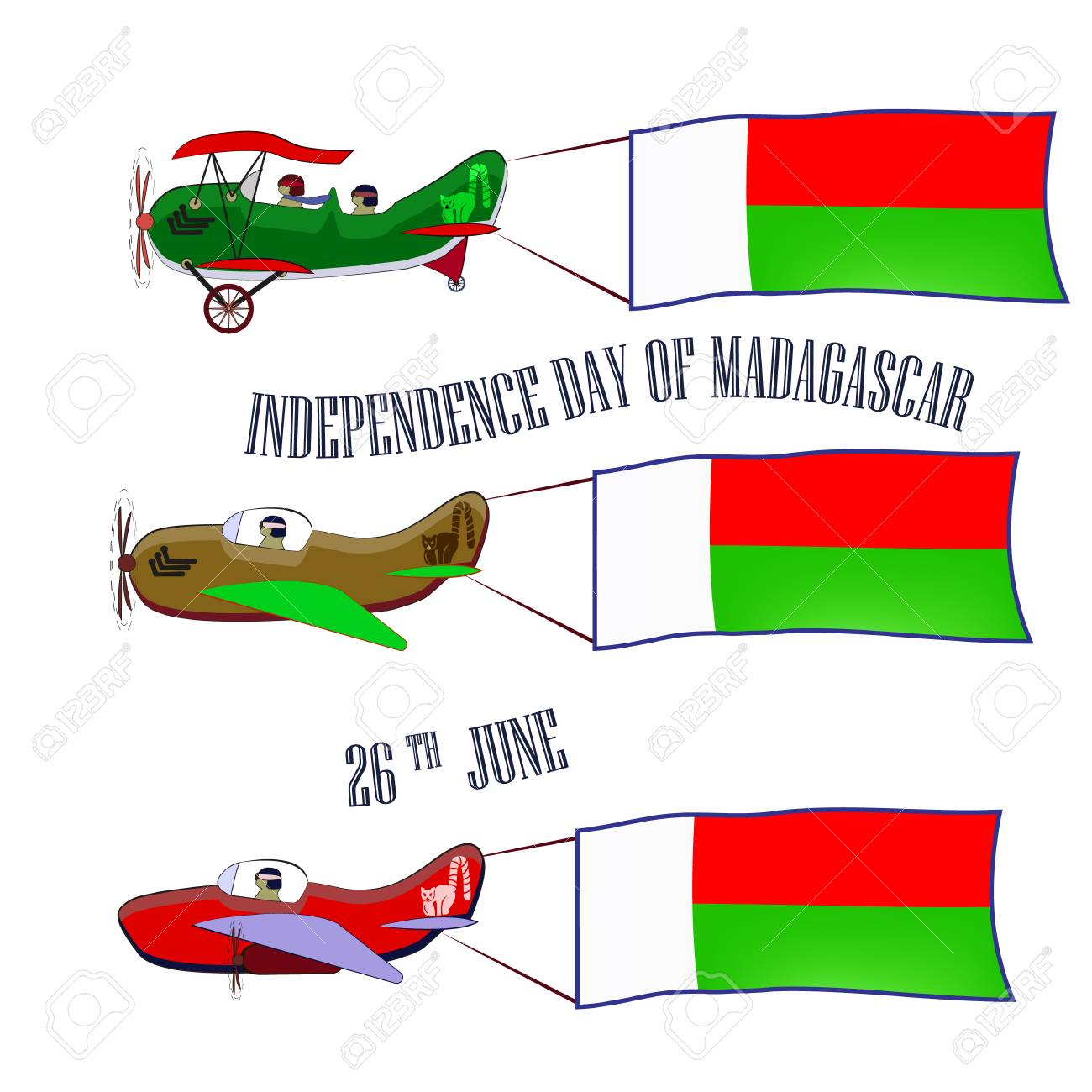 Independence Day of Madagascar, set with three planes and national flags on an isolated background - 103984245