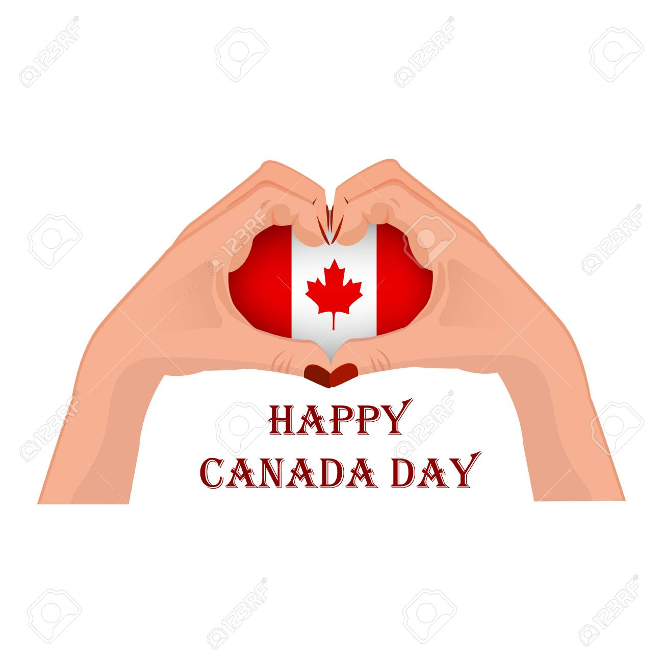 Canada Day, vector illustration with two hands in the shape of the heart, inside the national flag isolated on a white background - 103984251