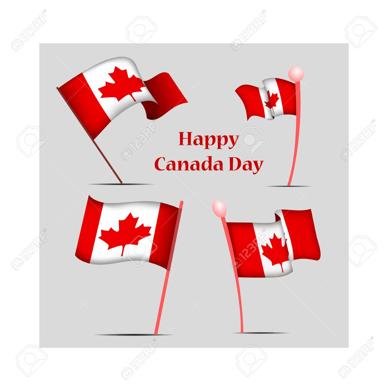 Canada Day, vector illustration, set with national flags - 103984252