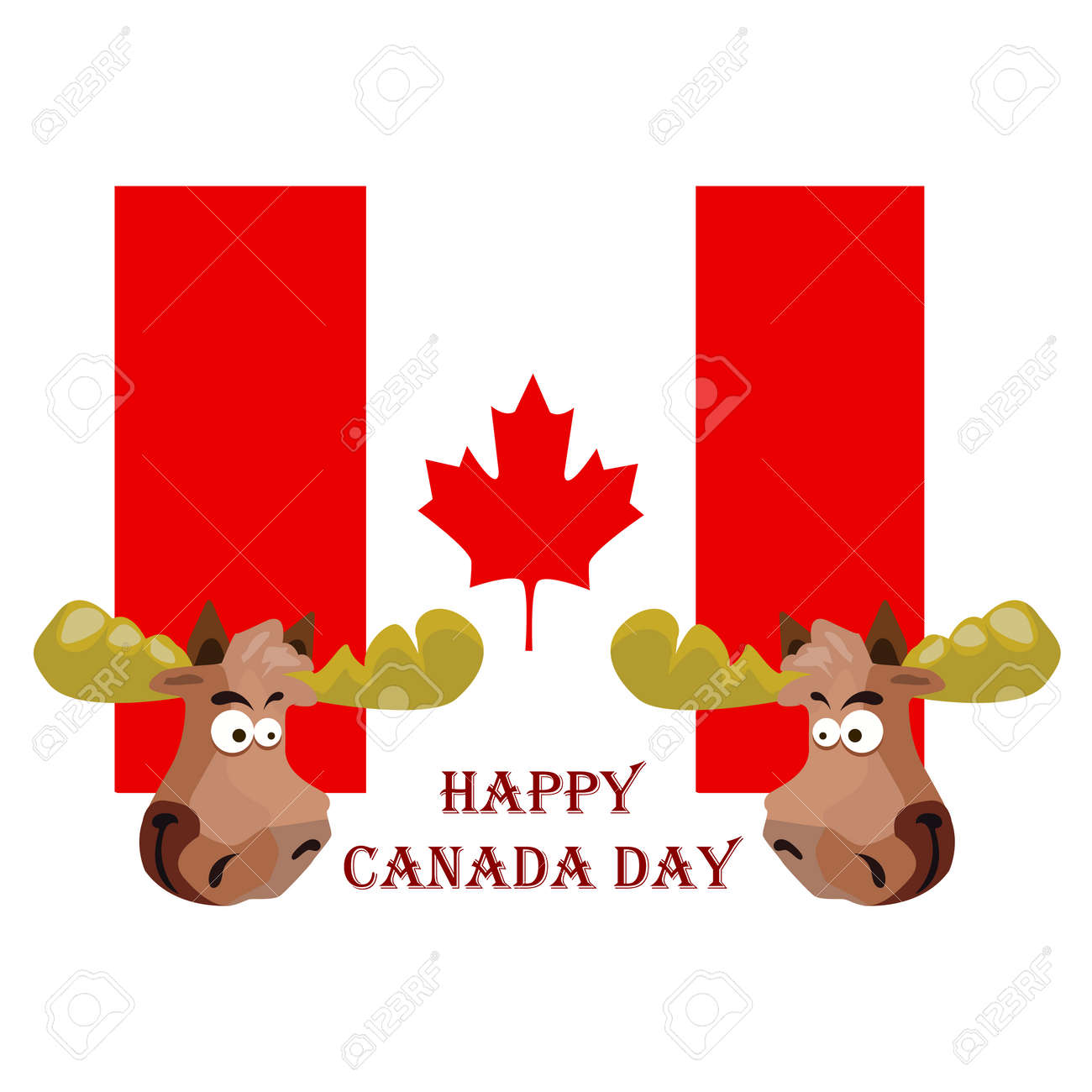 Conception on Canada Day, Festive Elk, against the background of the national flag, vector illustration - 103984254