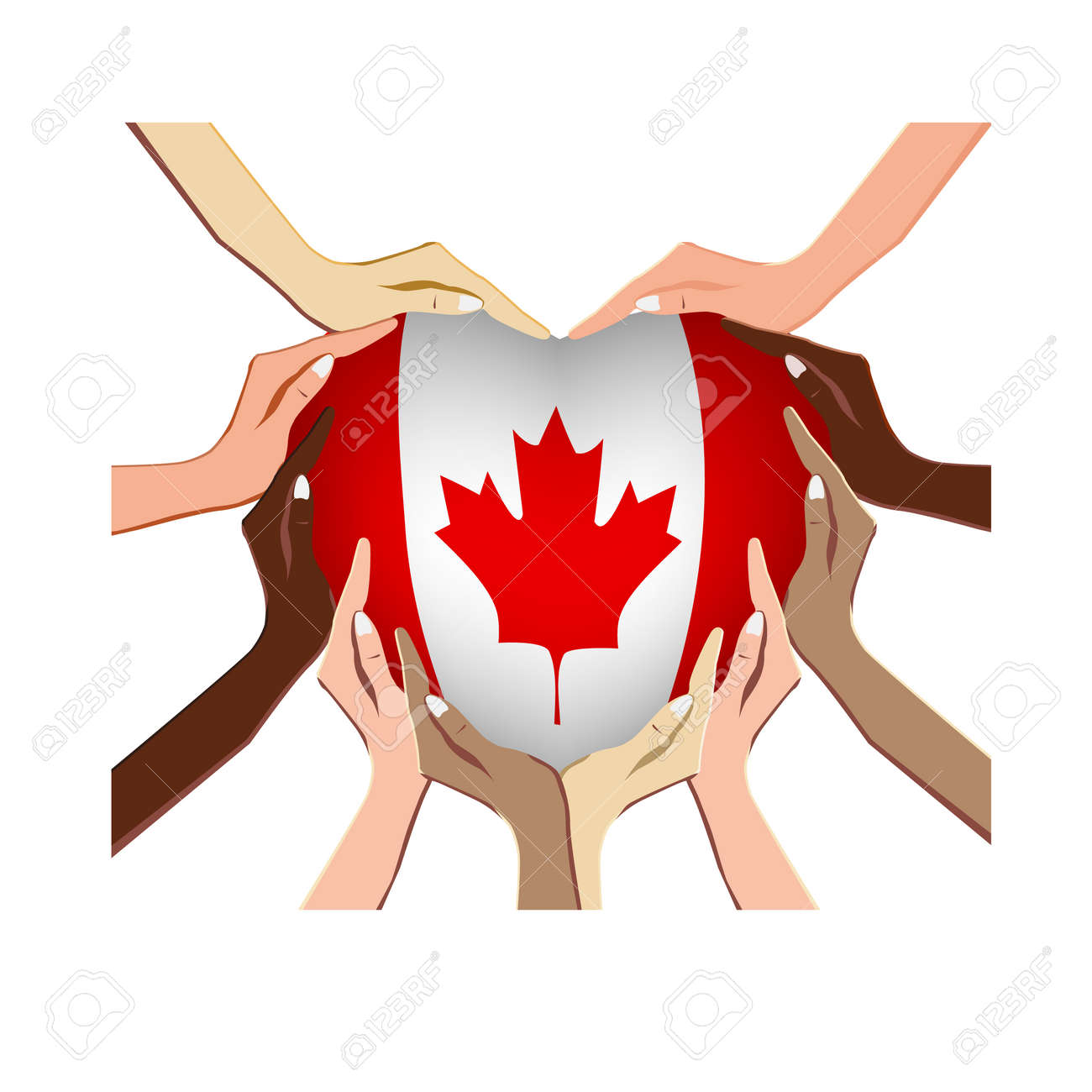Canada Day, vector illustration with hands in the shape of the heart, inside the national flag isolated on a white background - 103984255