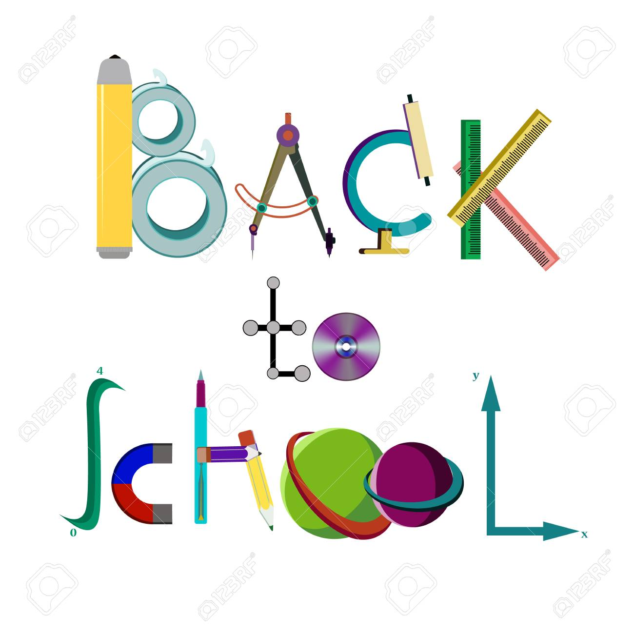 Inscription Back to school of school supplies, vector illustration isolated on a white background - 103984256