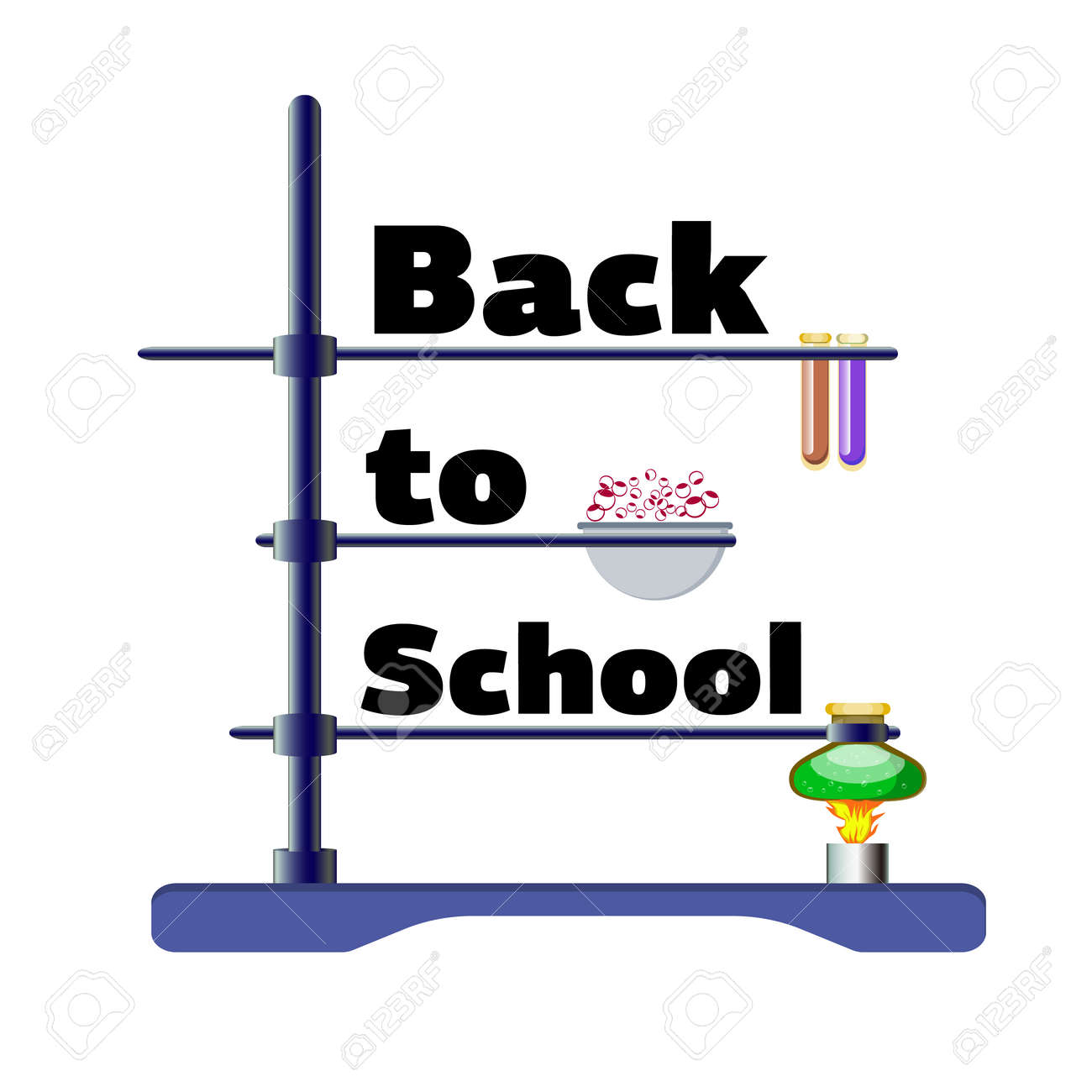 Inscription Back to school with instruments for chemistry lesson, vector illustration isolated on a white background - 103984257
