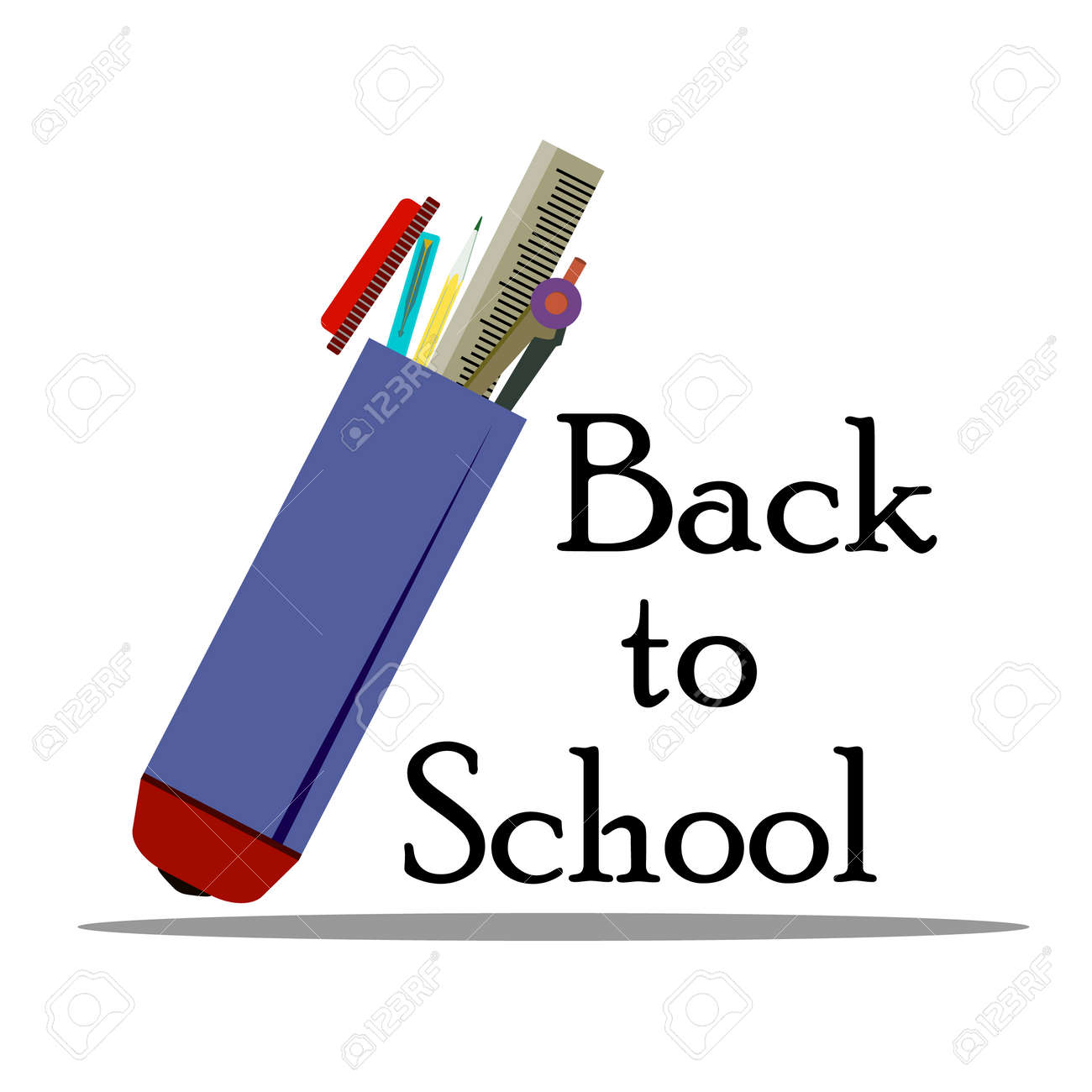 Inscription Back to school whith school supplies, vector illustration isolated on a white background - 103984260