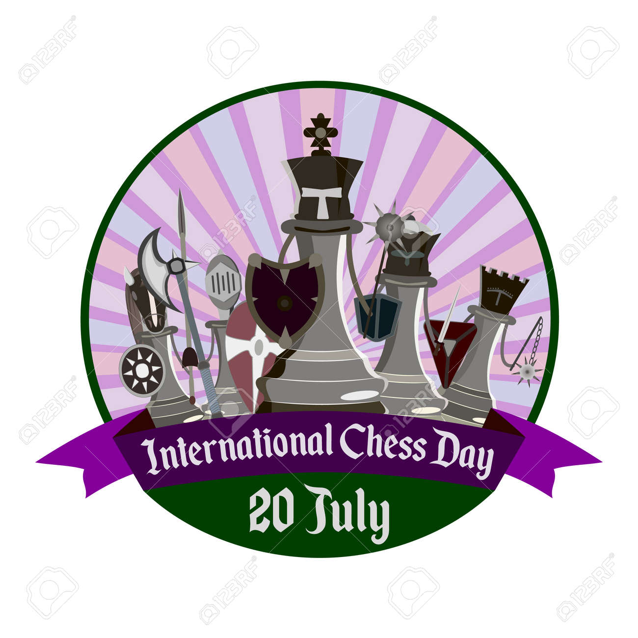 International Chess Day, vector illustration with stylized knight chess - 103984259