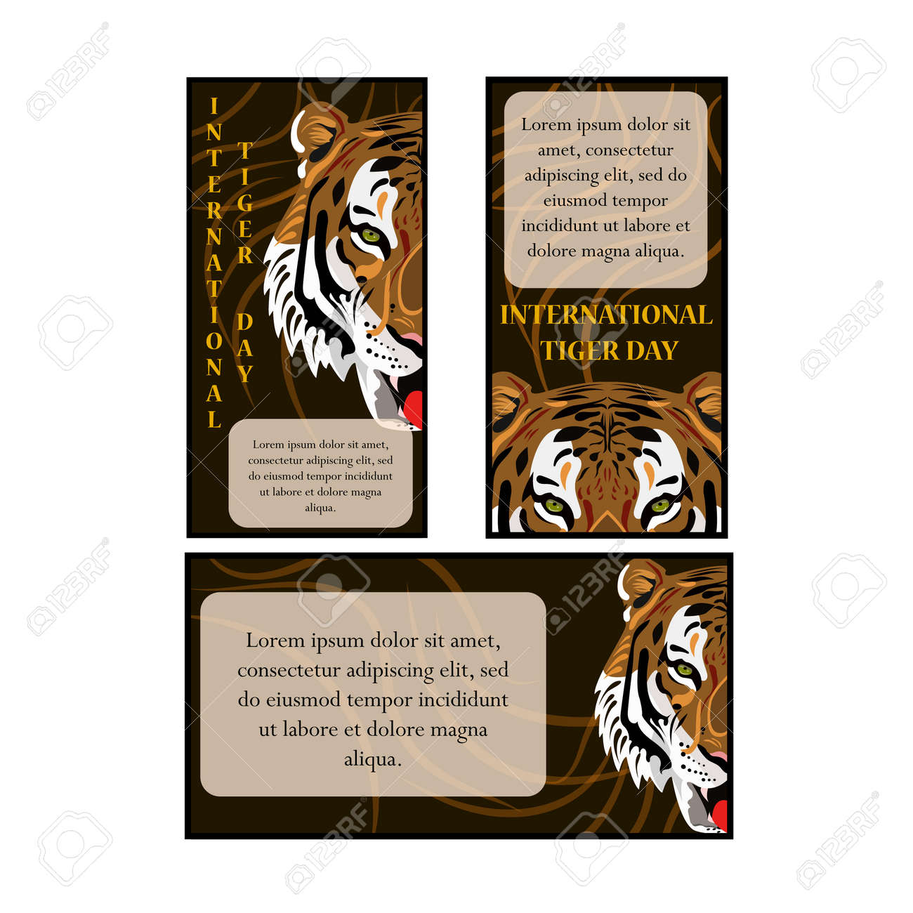 Concept on an international tiger day featuring a tiger's head, vector illustration - 103984848