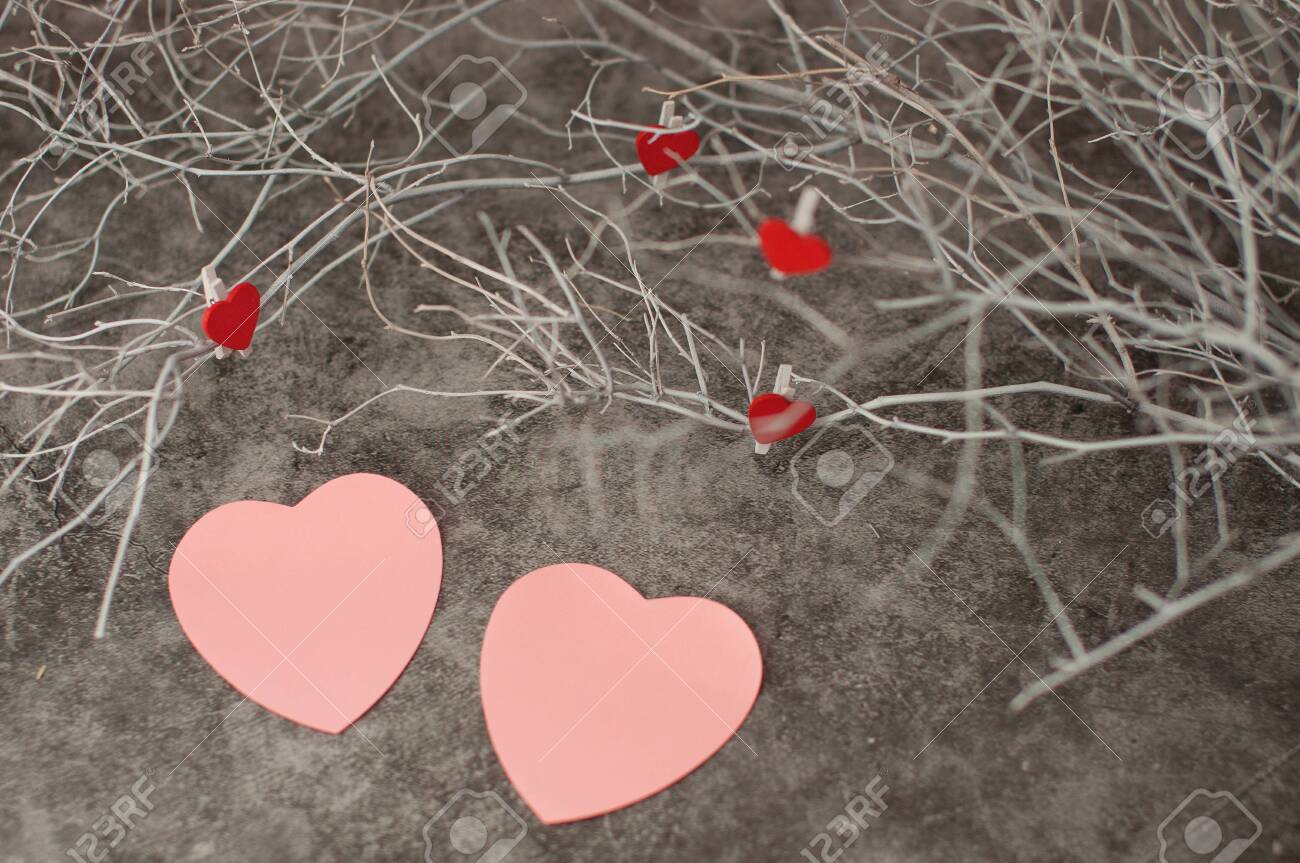 Holiday Background For Valentine S Day On A Gray Cement Background Stock Photo Picture And Royalty Free Image Image 137603598