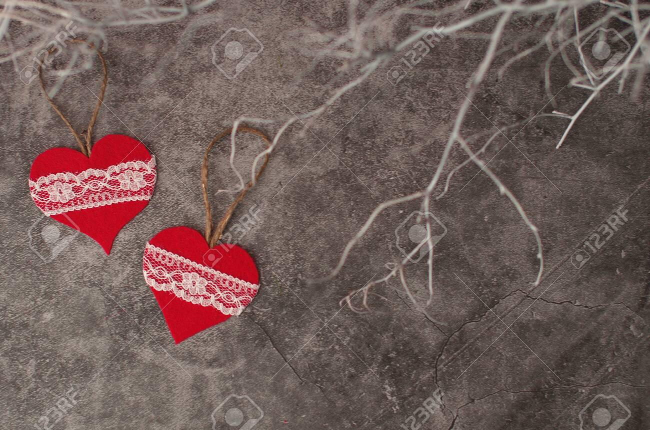 Holiday Background For Valentine S Day On A Gray Cement Background Stock Photo Picture And Royalty Free Image Image 137953148