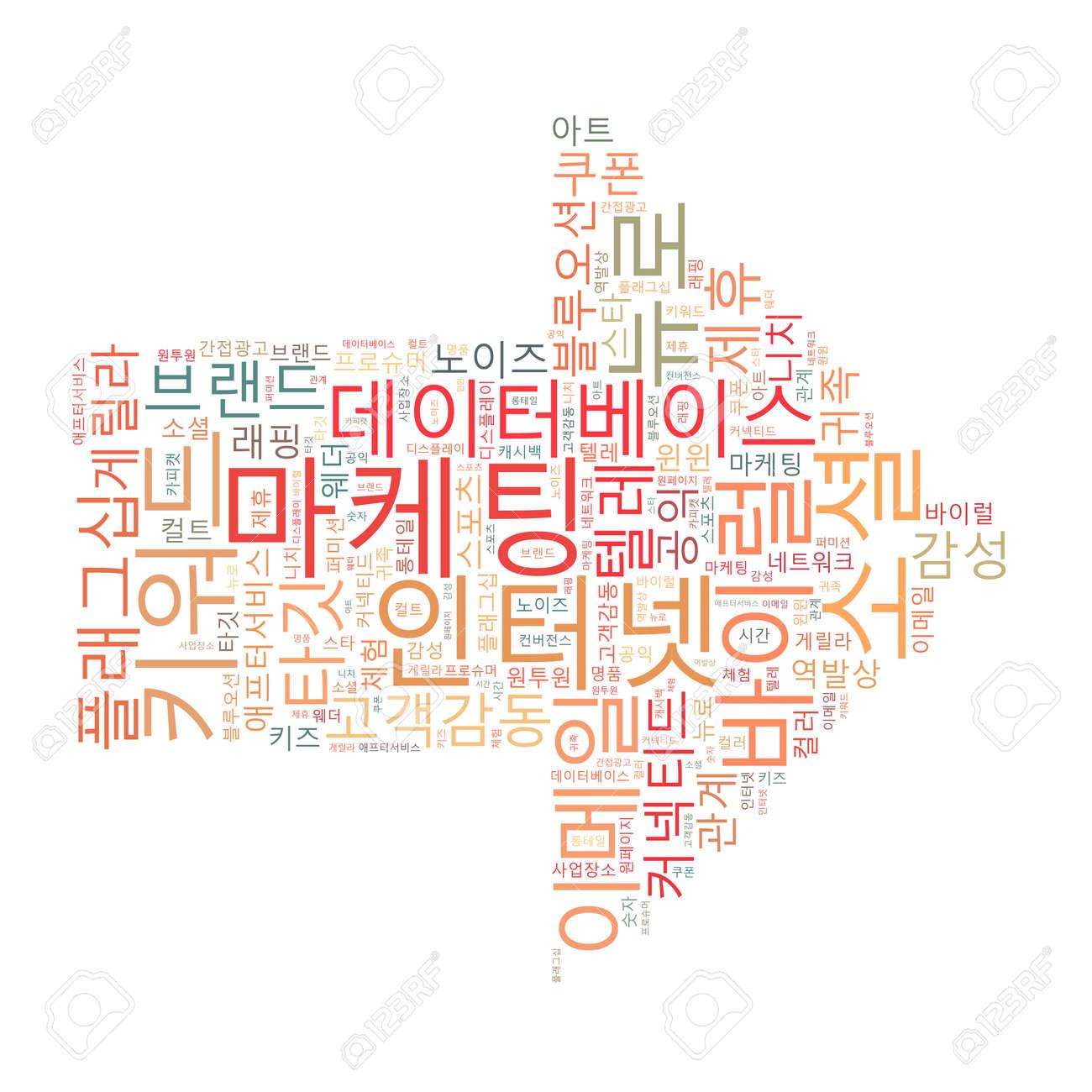 Korean Marketing Keyword Cloud Stock Photo - 25135100