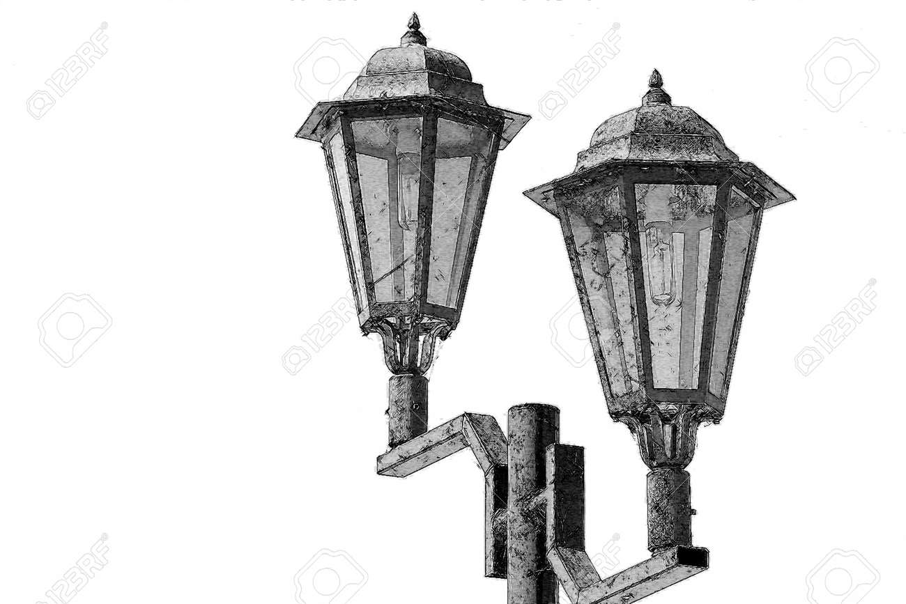 Drawing Of Vintage Lamp Posts Stock Photo