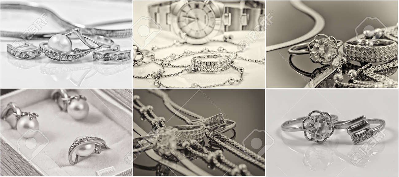 selection of black-and-white photos of gold and silver jewelry Standard-Bild - 48065897