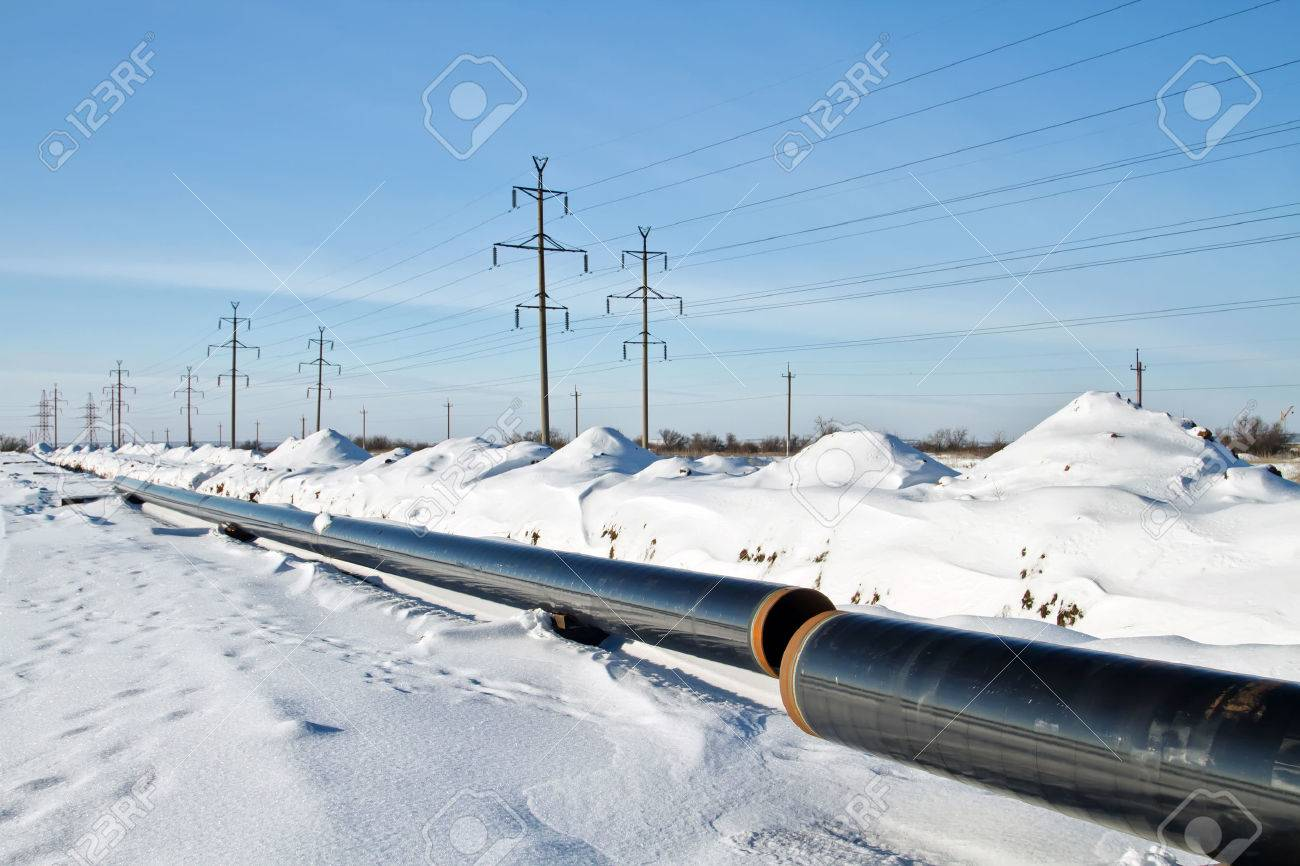 construction and installation of underground gas pipeline of high pressure in winter conditions Standard-Bild - 50655389
