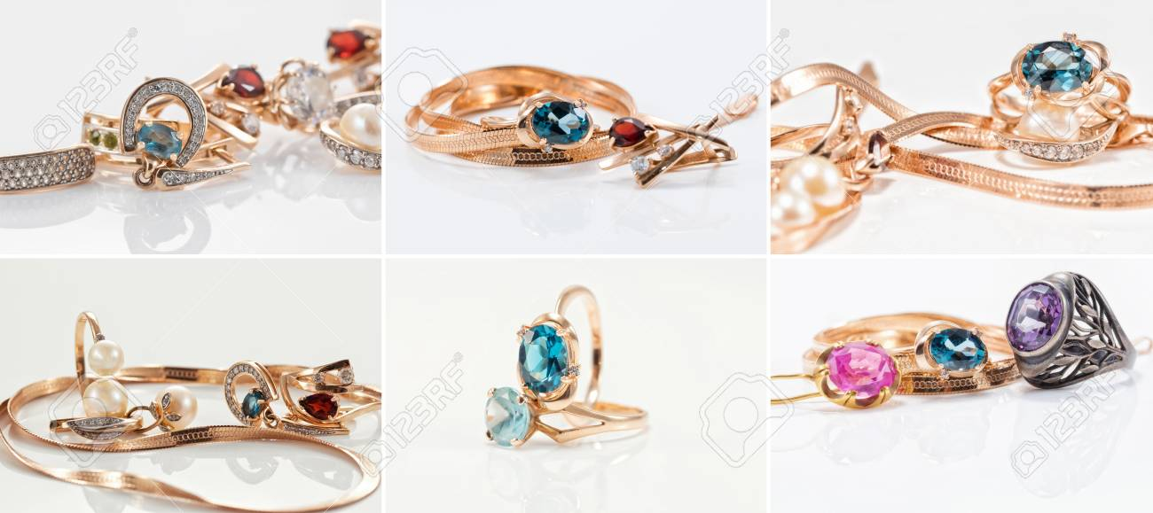 Thematic collection of photos on the theme of jewelry with Topaz and rubies Standard-Bild - 78753692