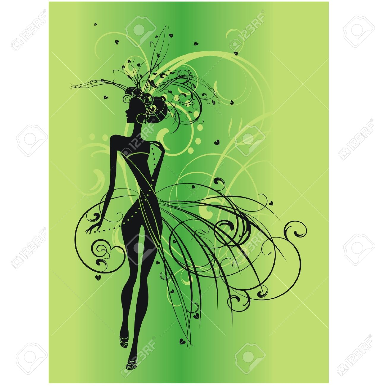 silhouette of a woman in green background Stock Vector - 10226705