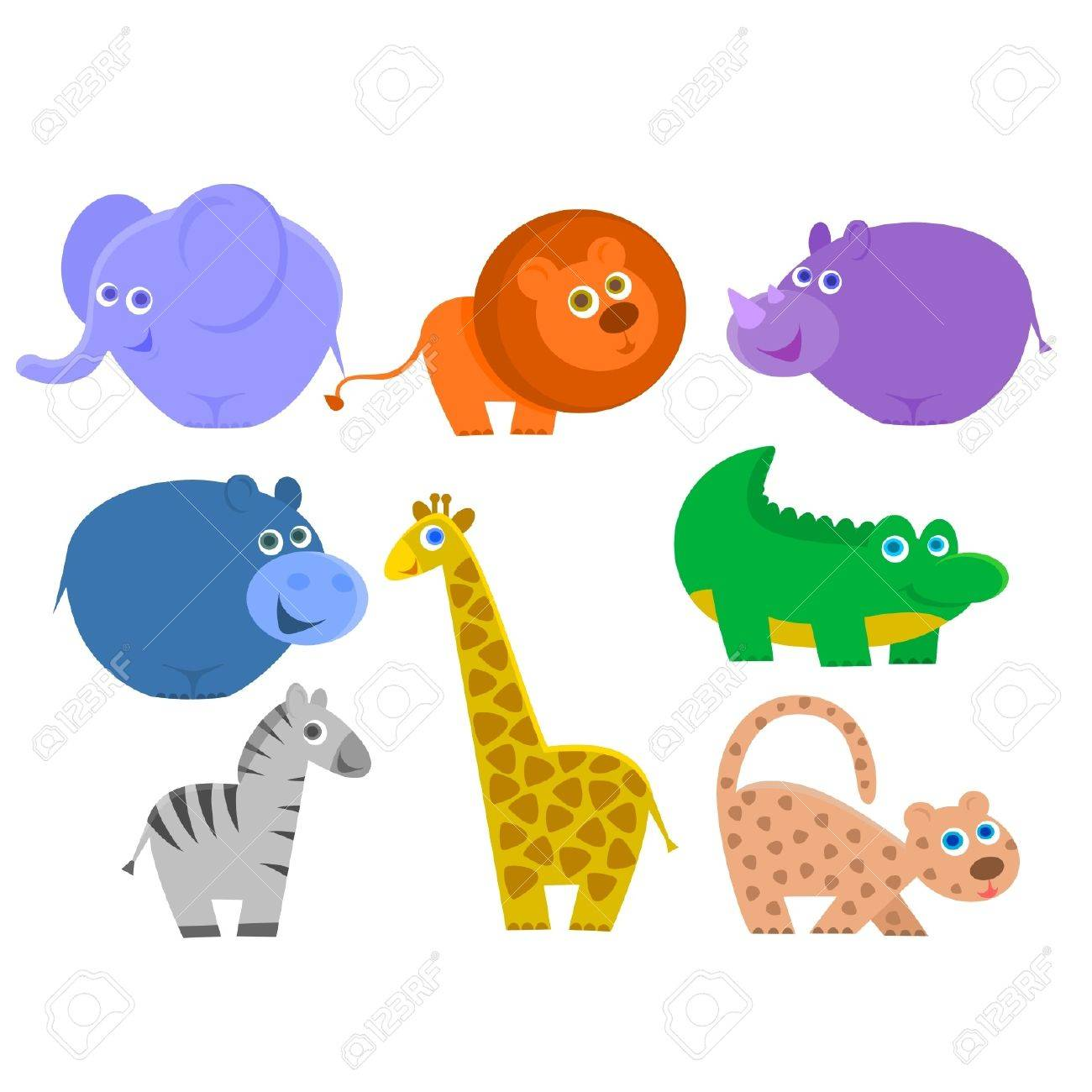 the african animals are isolated on a white background Stock Vector - 11094123