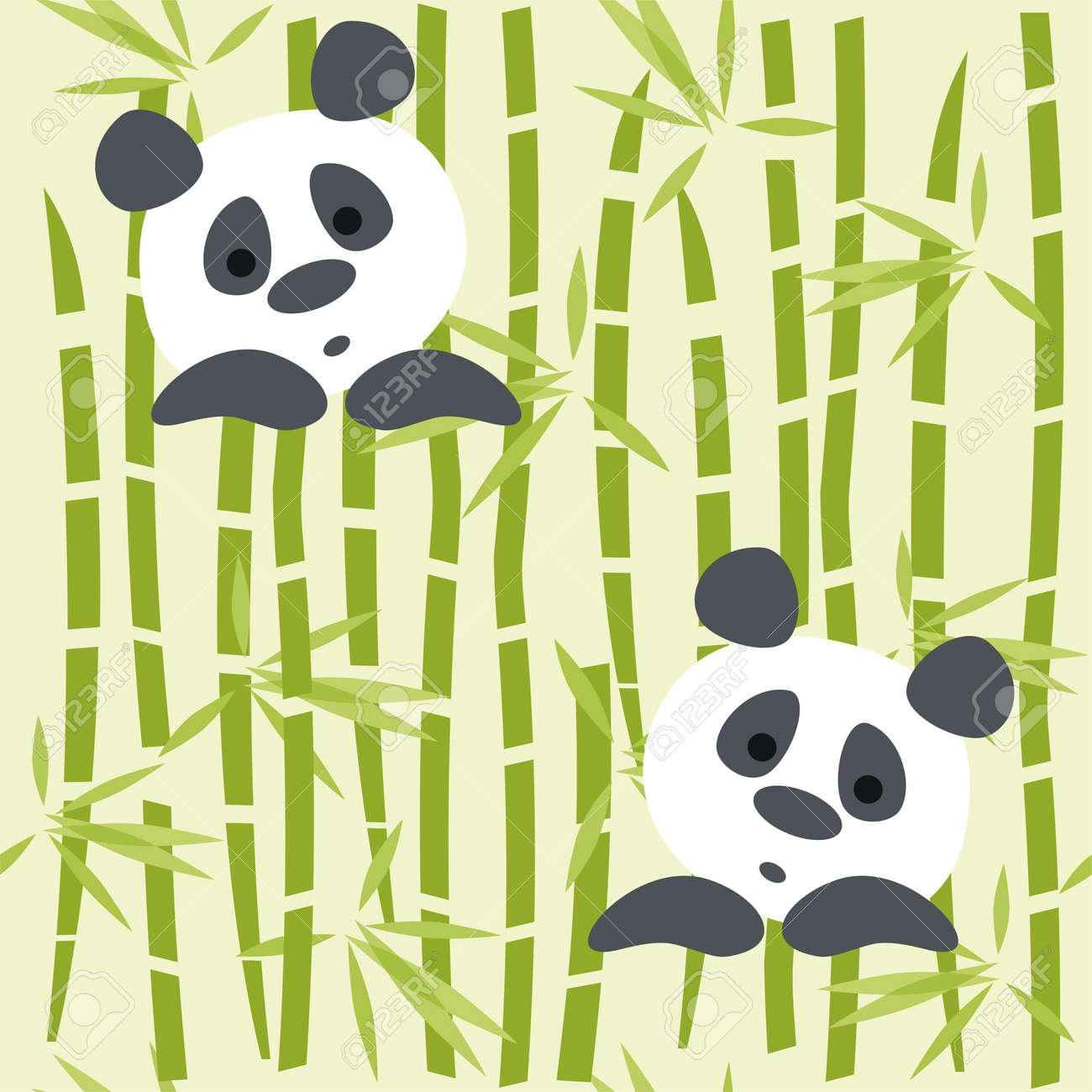 Seamless Pattern Panda Bears On A Bambo Royalty Free Cliparts ...