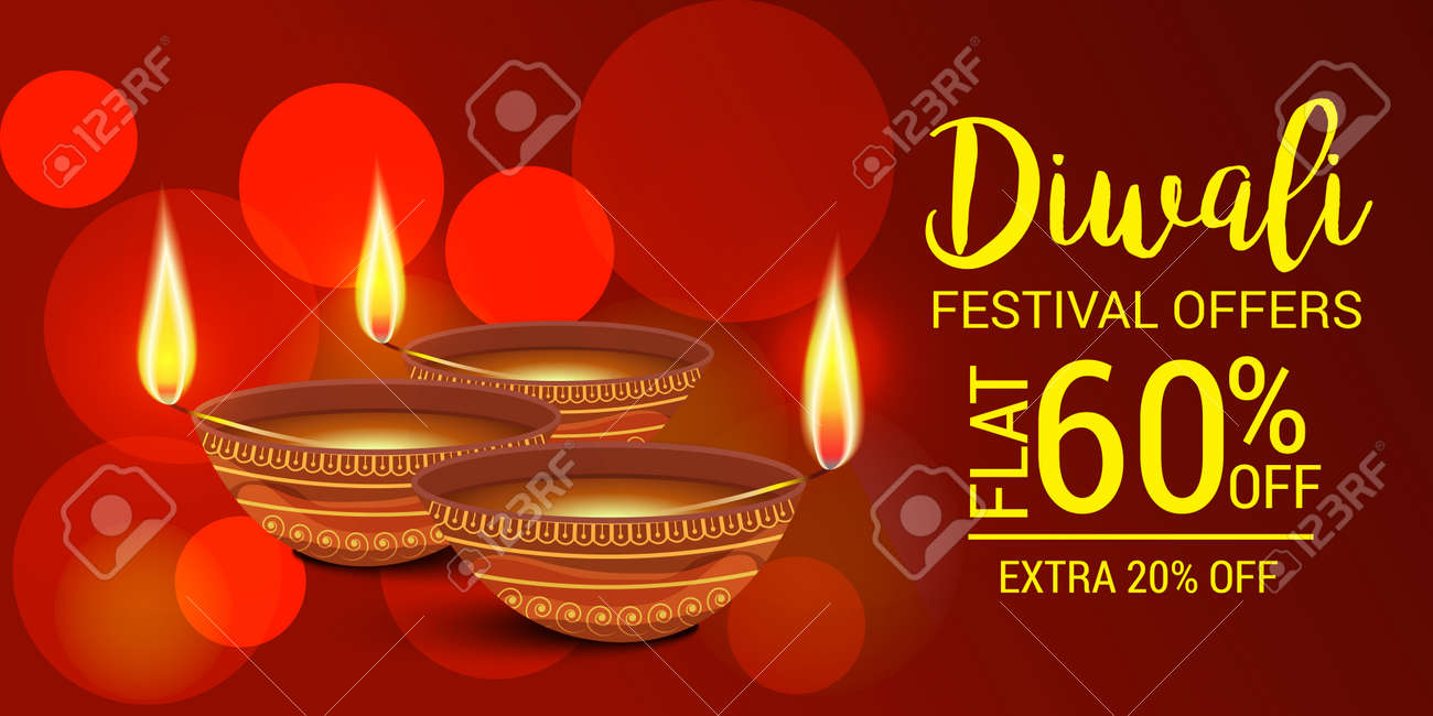 happy diwali festival sale discount offers on a flyer banner