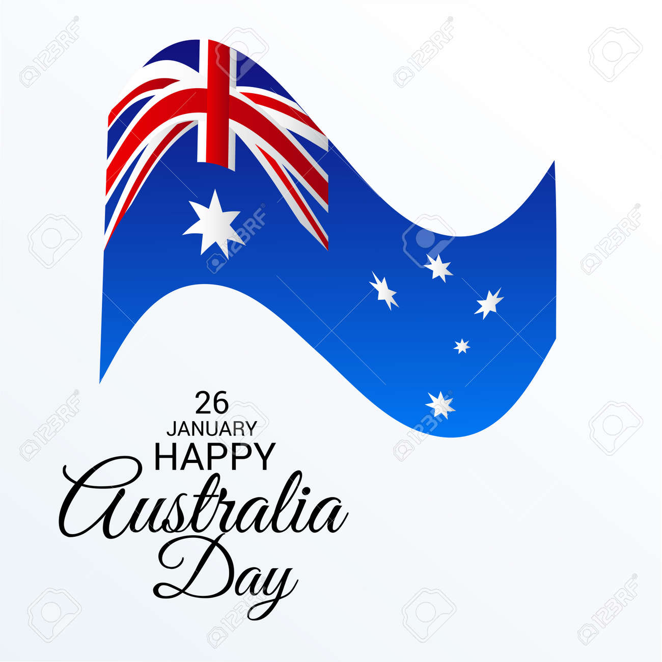 Happy Australia Day Greeting Card With Australian Flag Design