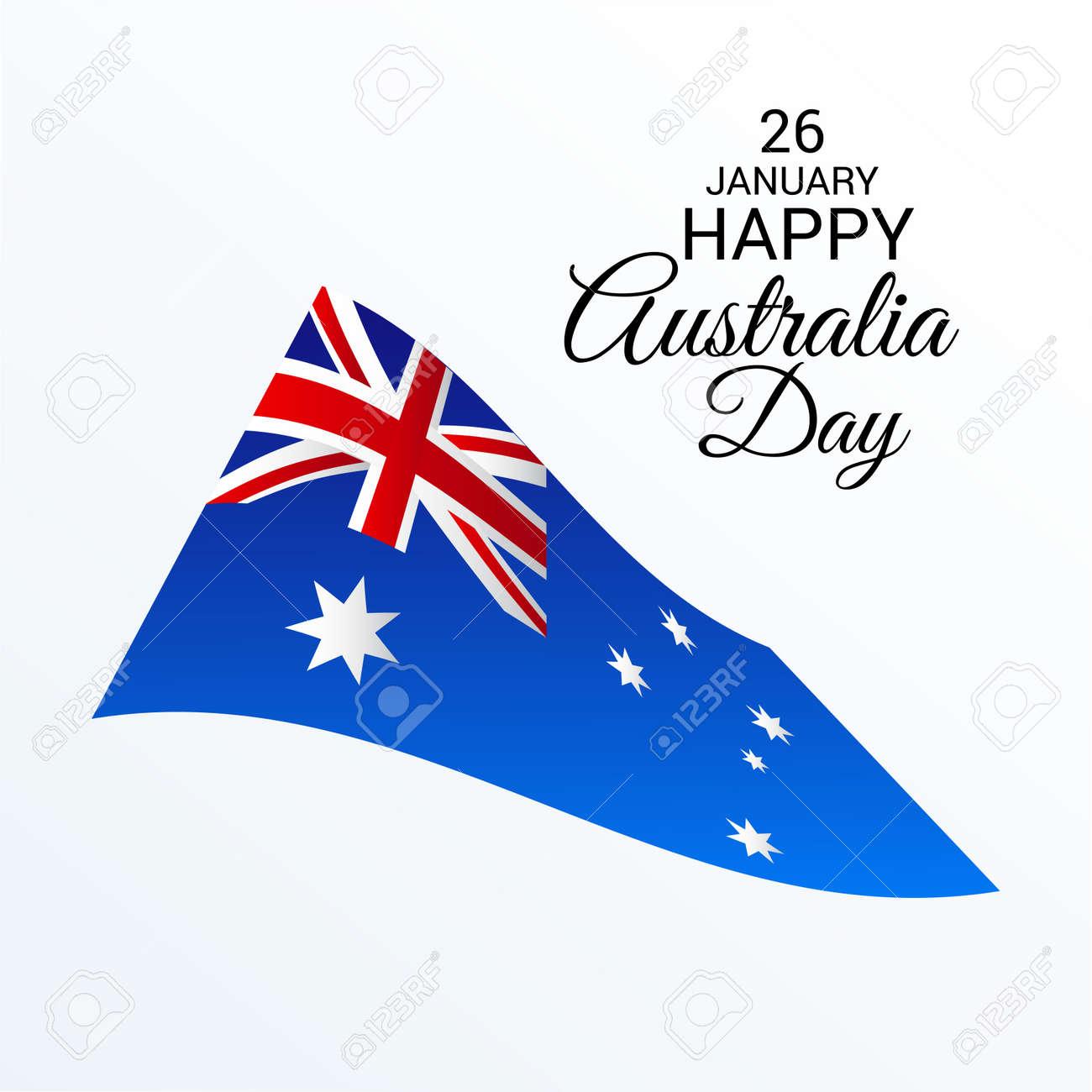 Happy Australia Day Greeting Card With Australian Flag Design